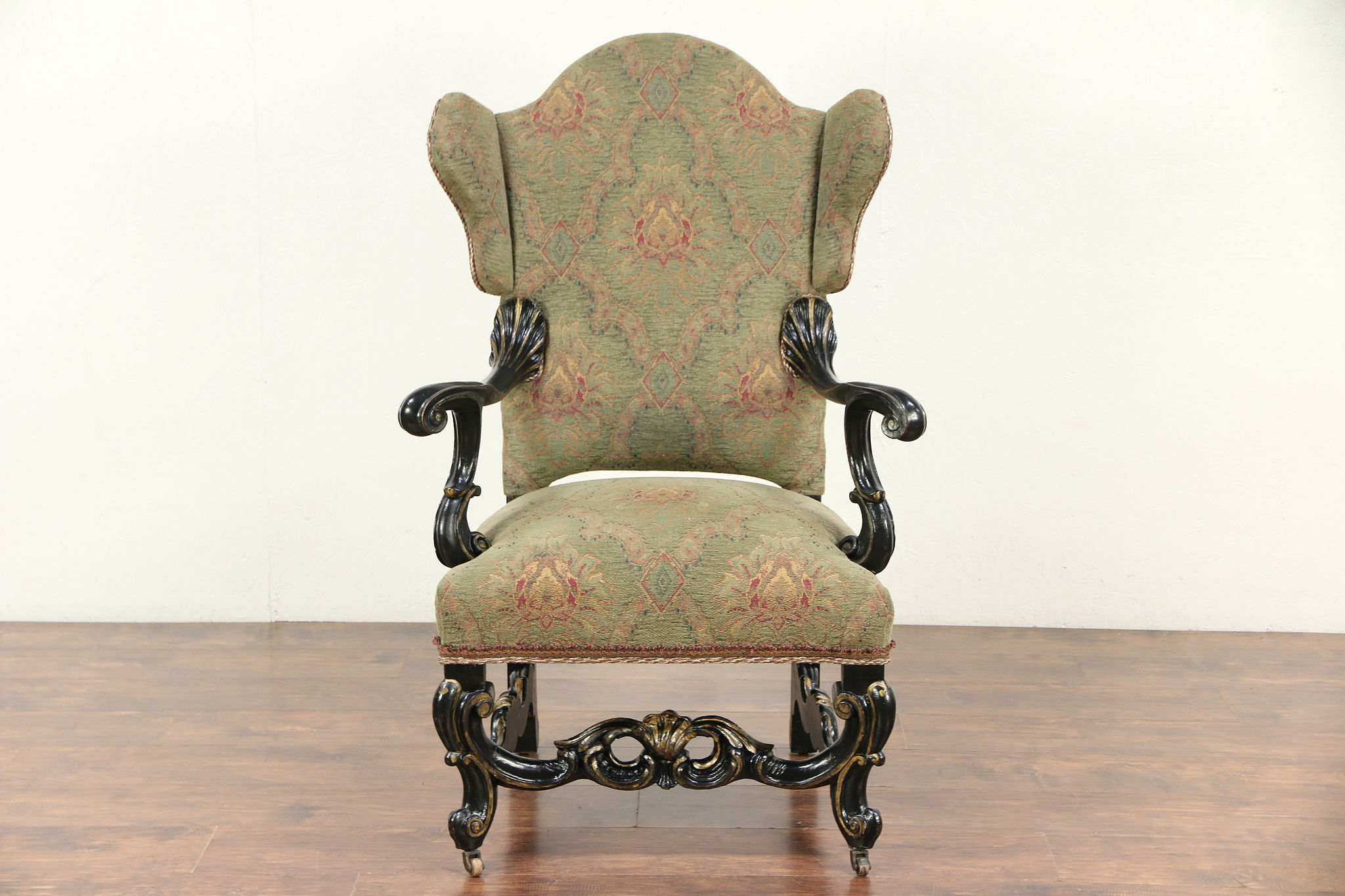 Carved Oak Antique French Wing Chair, Recent Tapestry Upholstery #29628 ...