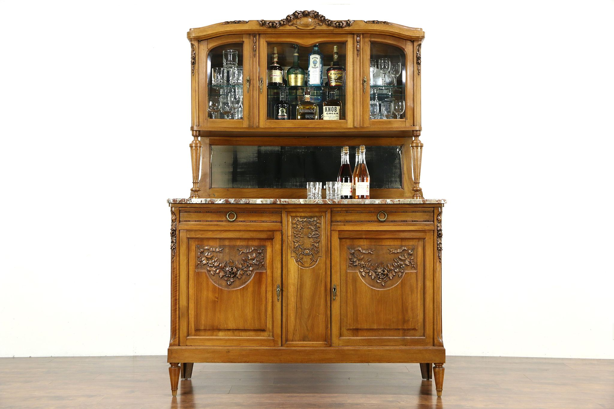Merveilleux French Antique Carved Sideboard U0026 China Cabinet, Marble Top, Beveled Glass