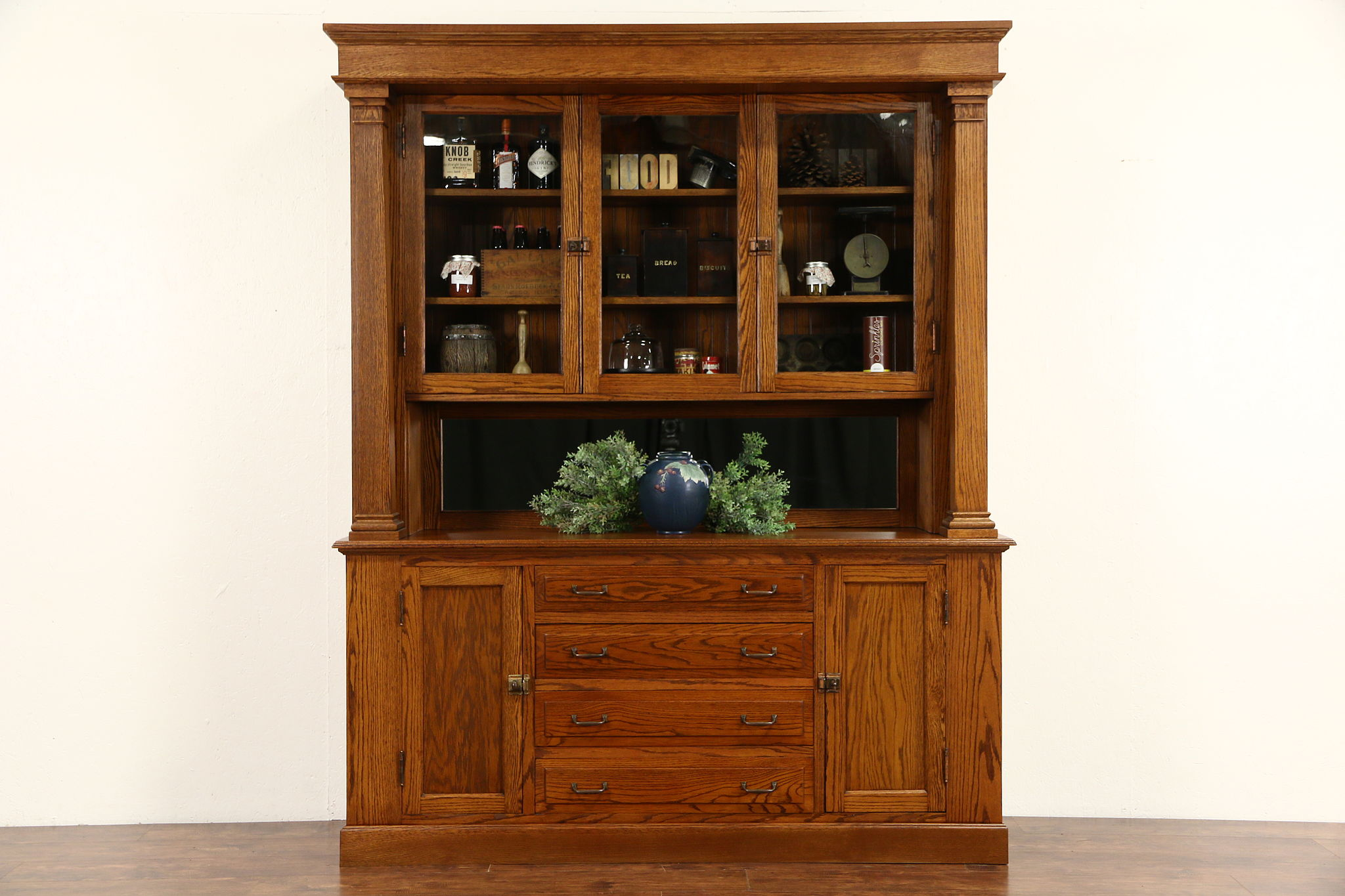 SOLD - Arts & Crafts Mission Oak 1910 Antique Back Bar, Sideboard ...