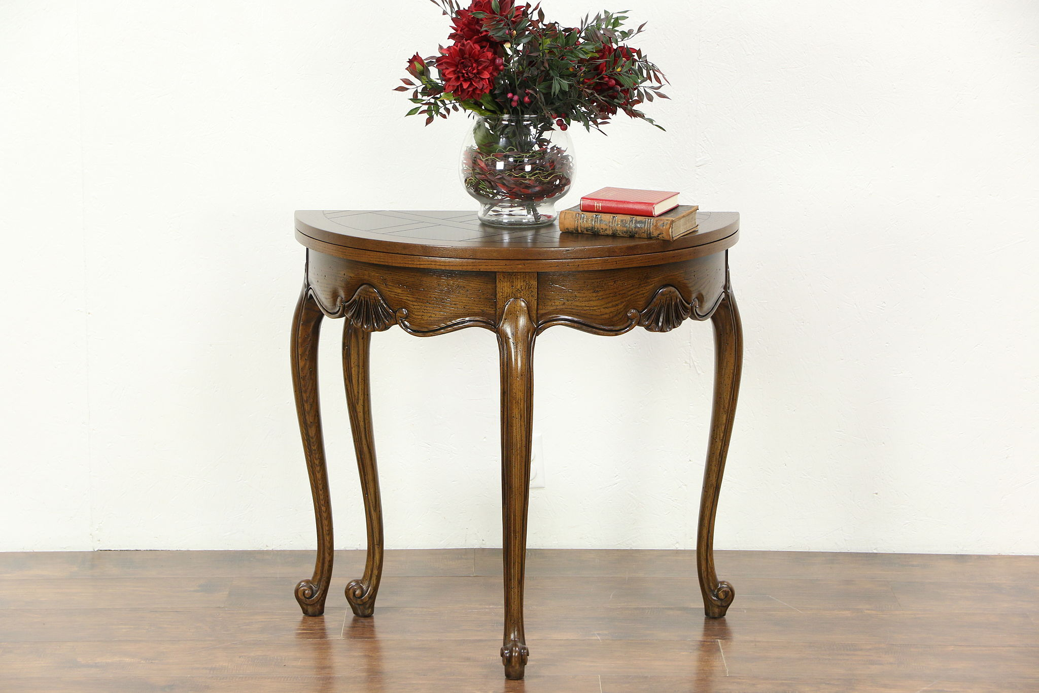Oak Half Round Demilune Vintage Console, Opens To Round Game Table, Signed  Baker ...