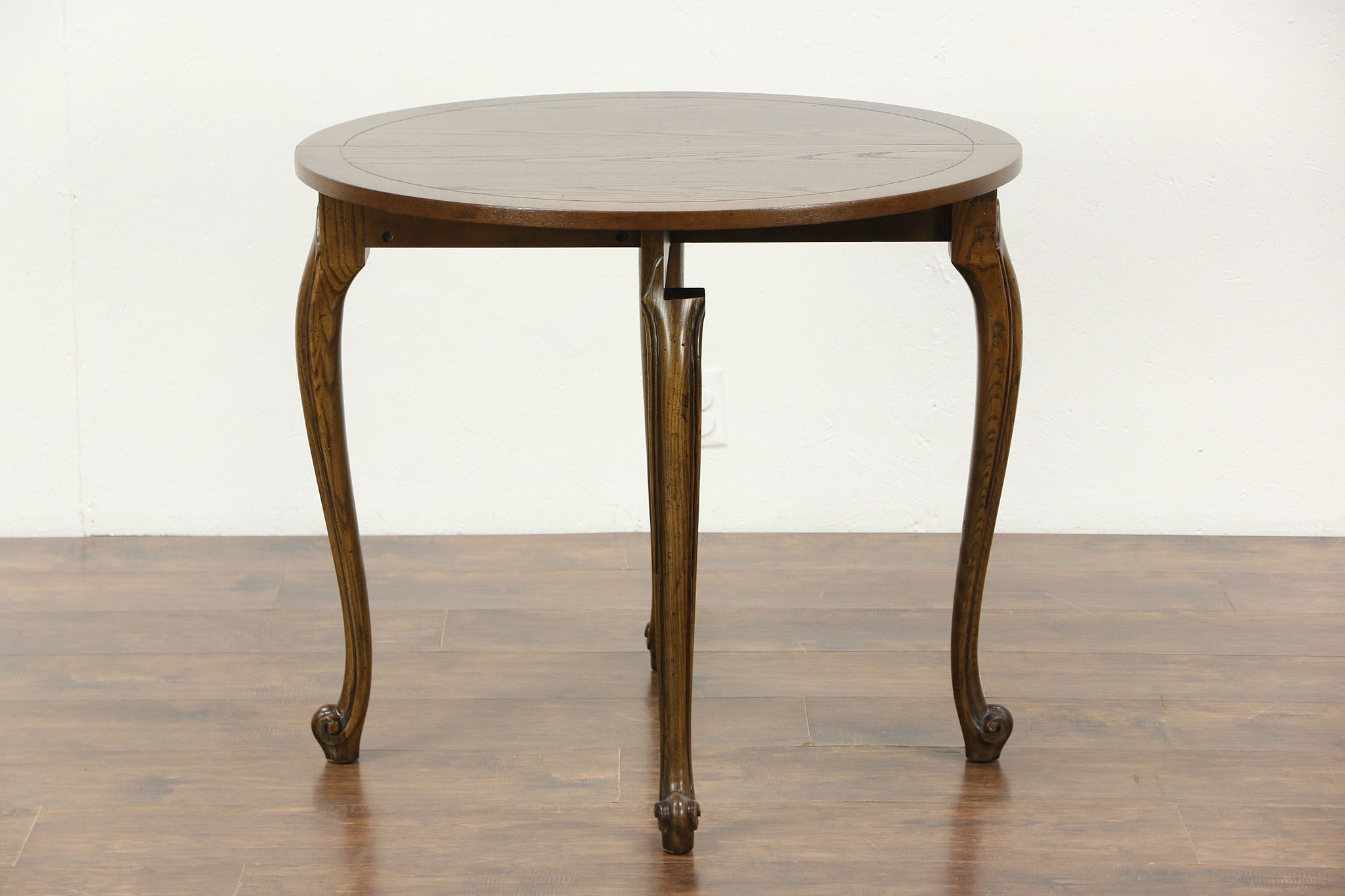Oak Half Round Demilune Vintage Console Opens to Round Game Table