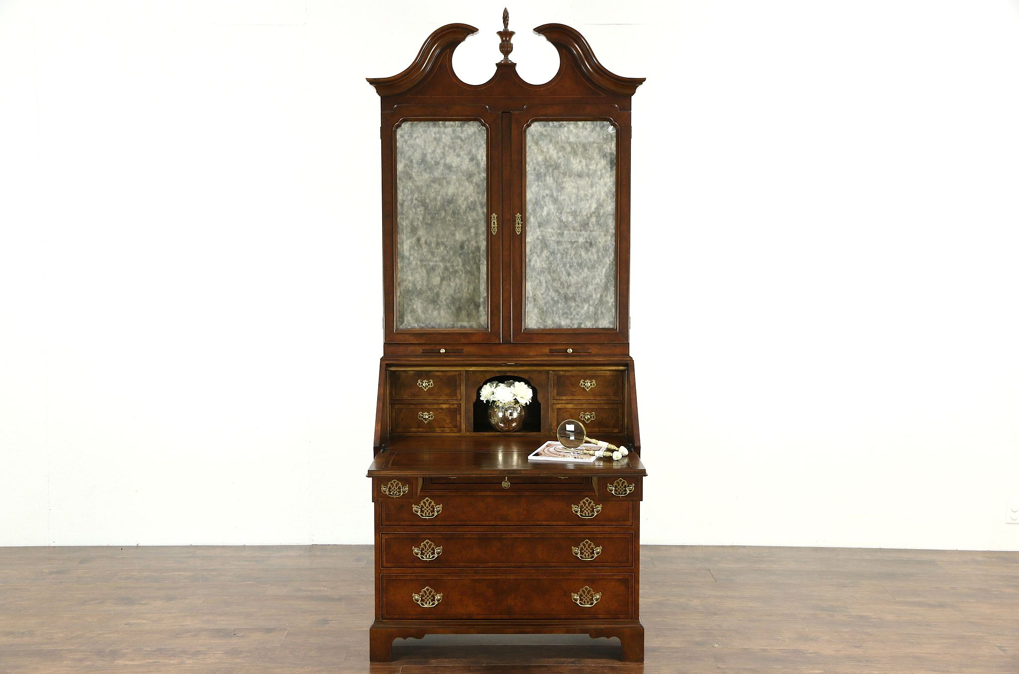 Sold Baker Signed Georgian Style Vintage Secretary Desk Bookcase