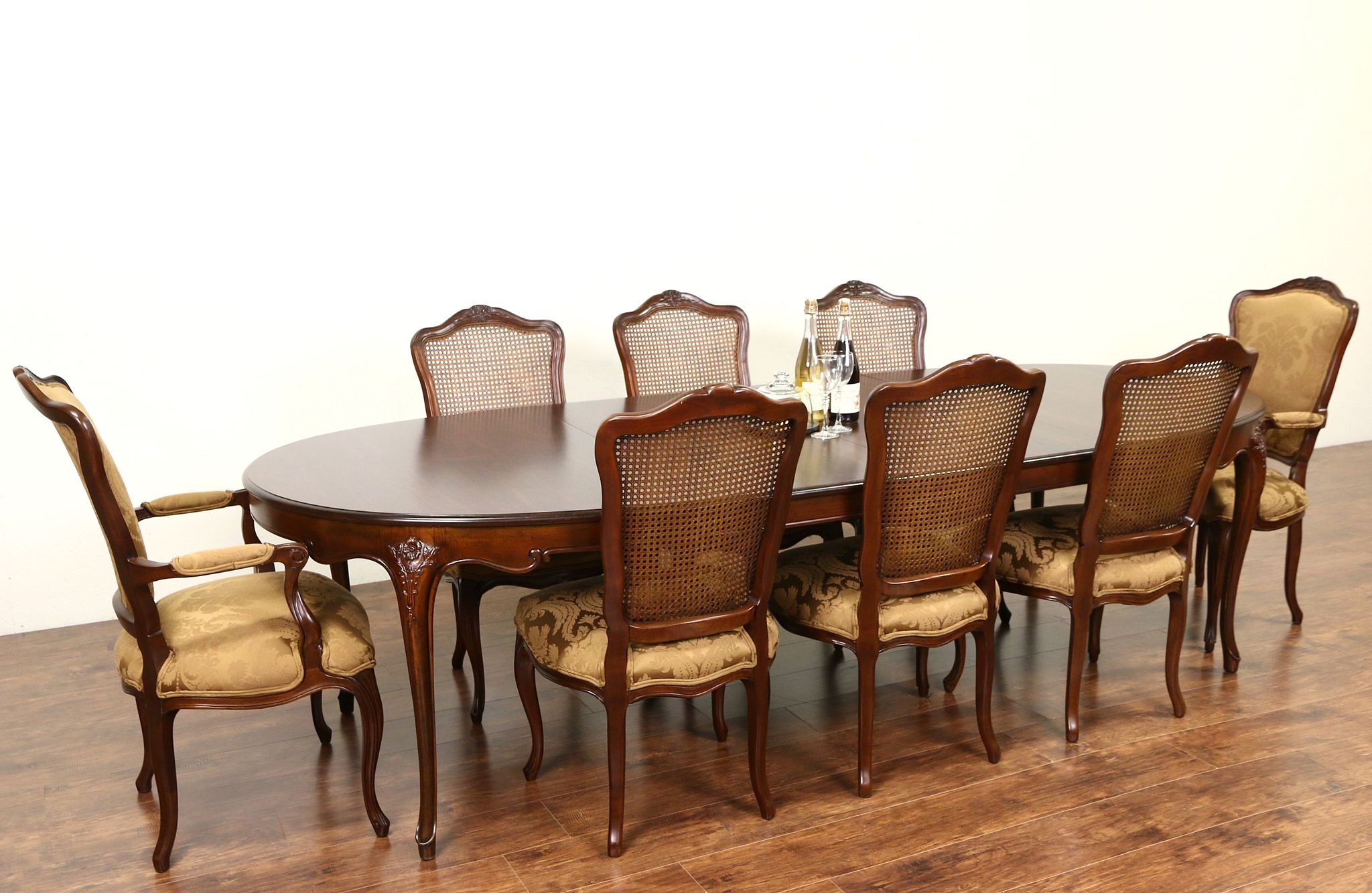 Baker Cherry Country French Dining Set, Table, 2 Leaves, 8 Chairs New  Upholstery