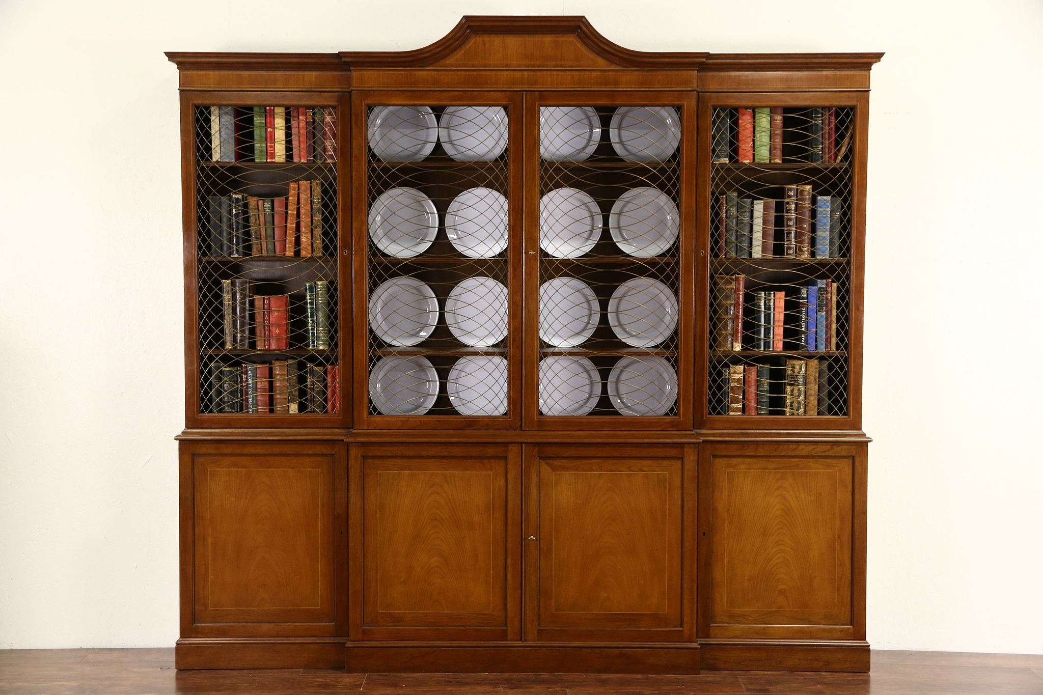 SOLD - Baker Signed Cherry 8' Vintage Bookcase or Breakfront China ...