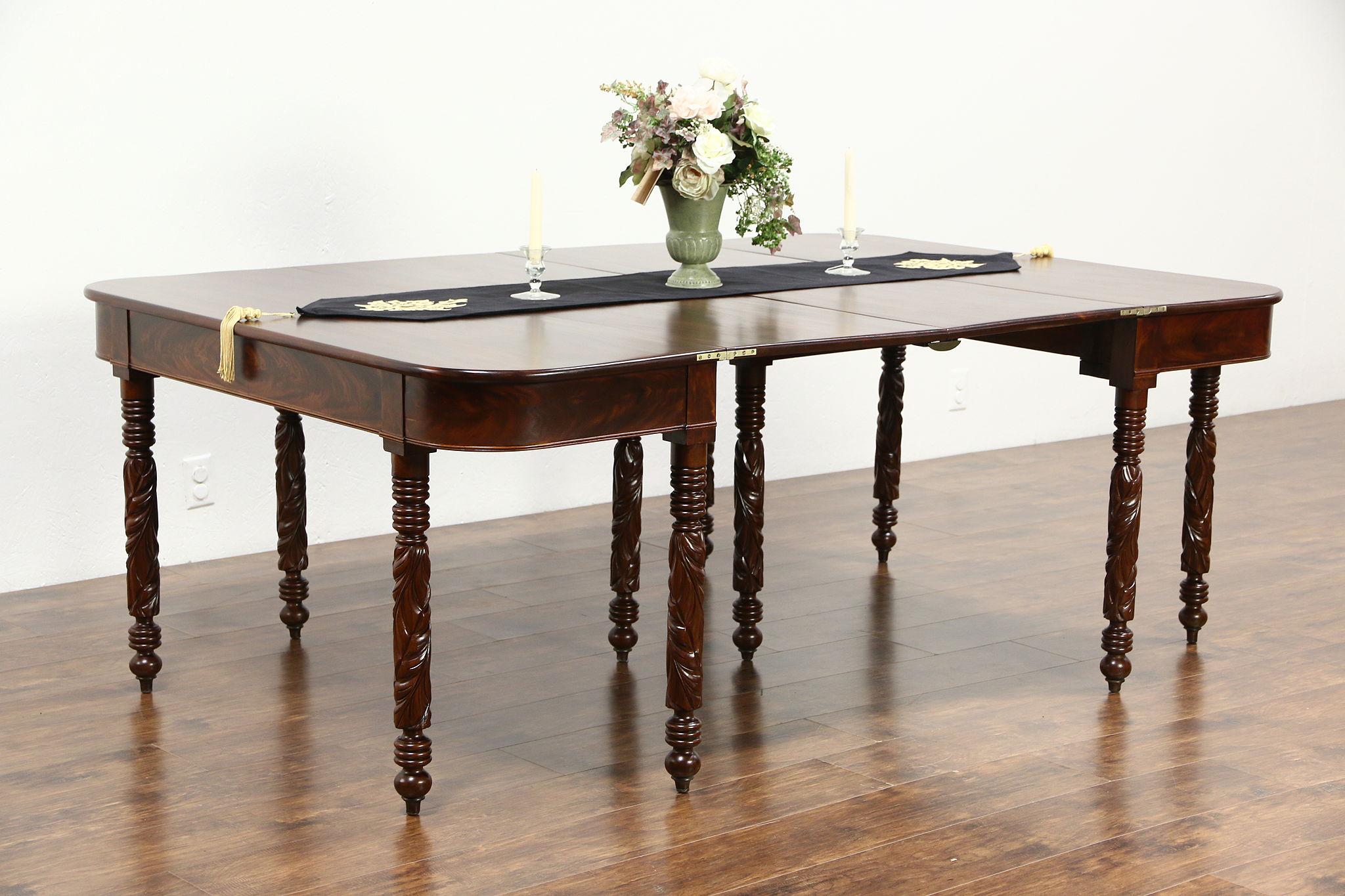 Pair Acanthus Carved Mahogany Console