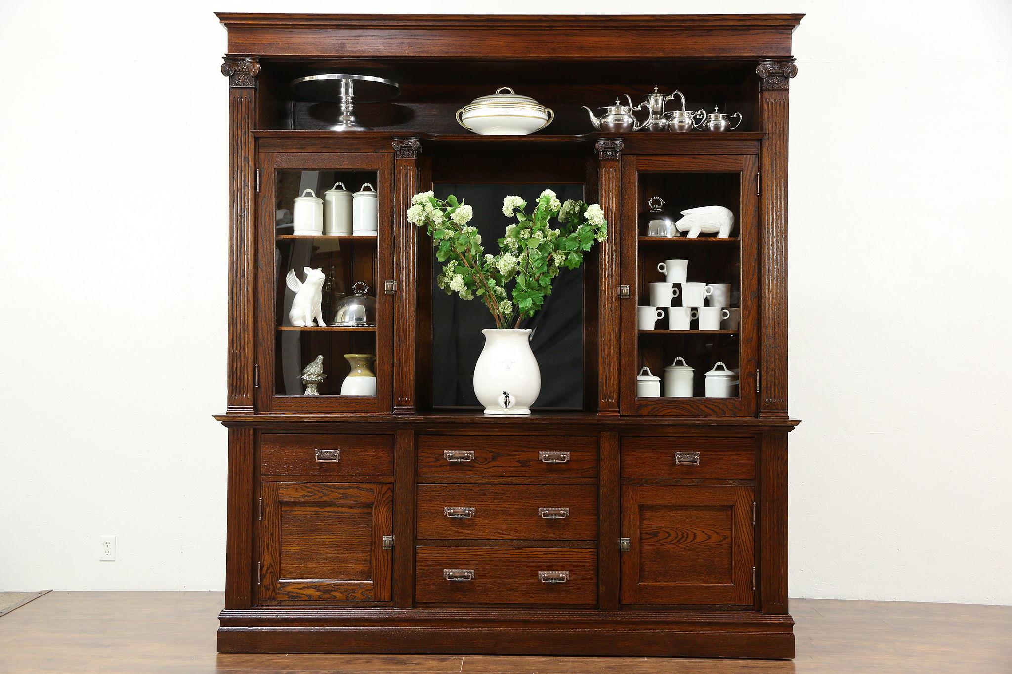 SOLD - Oak 1900 Antique Back Bar or China Cabinet & Sideboard with ...