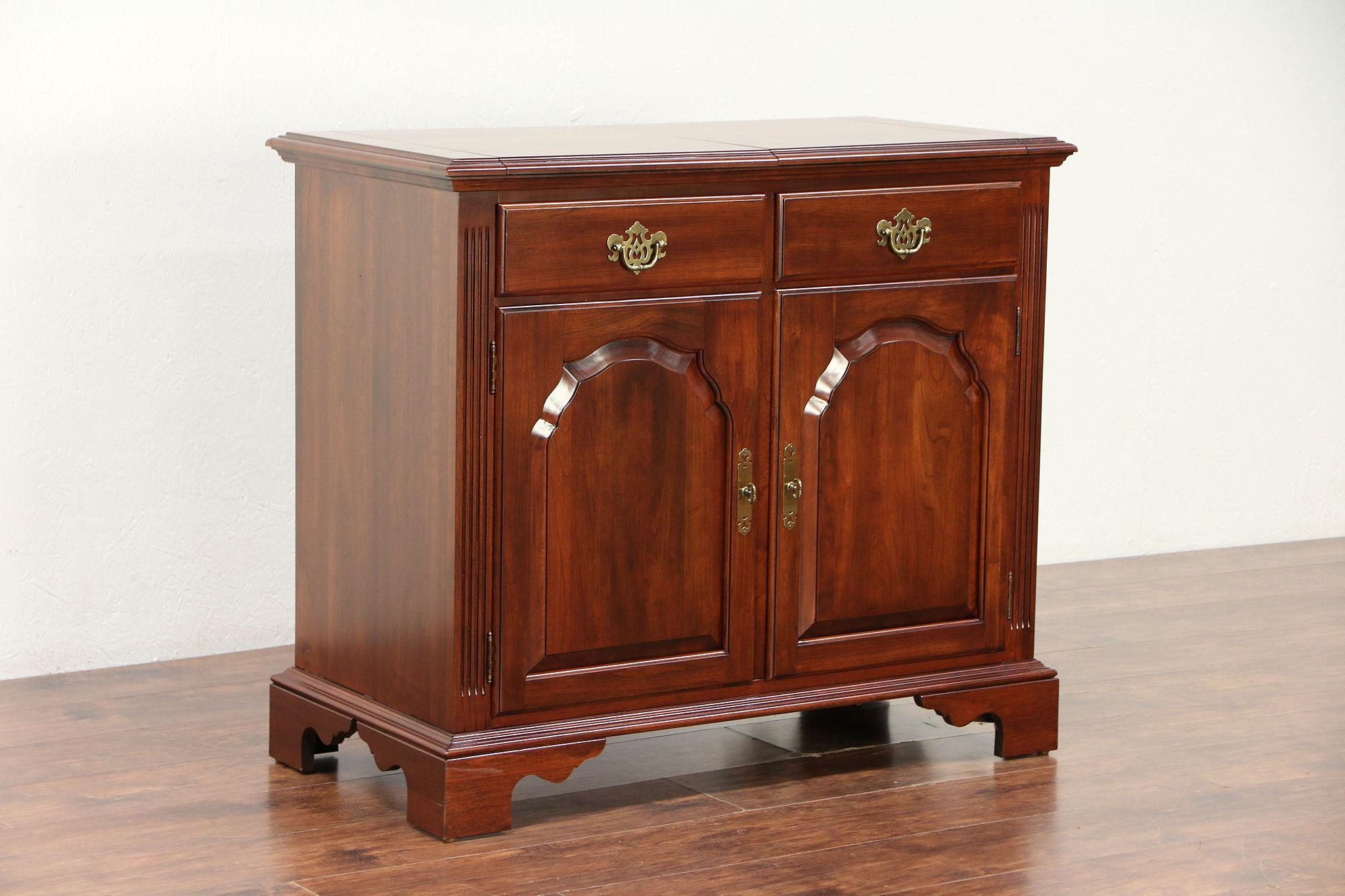 Cherry Vintage Bar Cabinet, Laminate Serving Top, Ethan Allen Knob Creek  #29905 ...