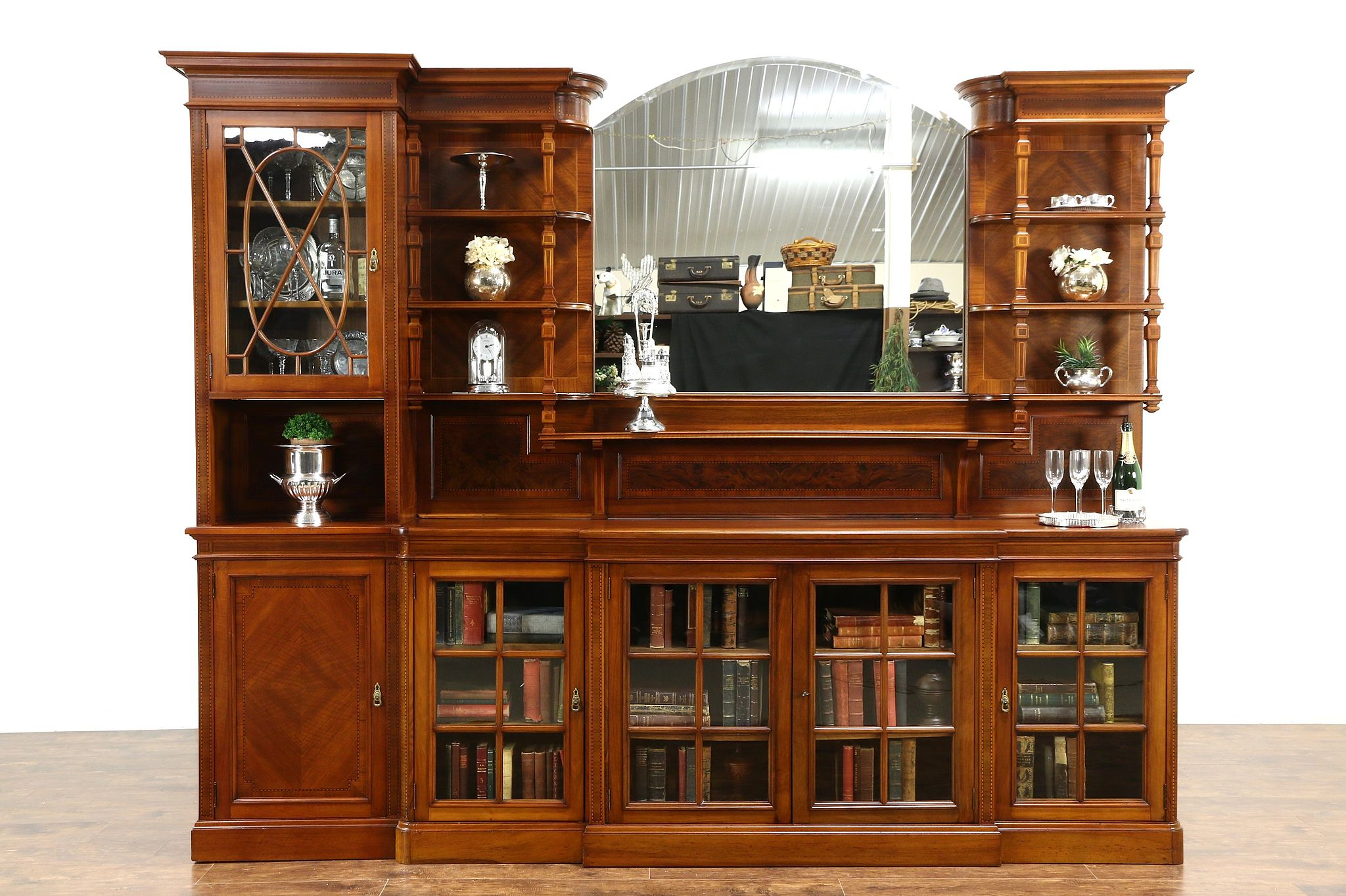 SOLD - Back Bar or Sideboard with China Cabinet, 1890's English ...