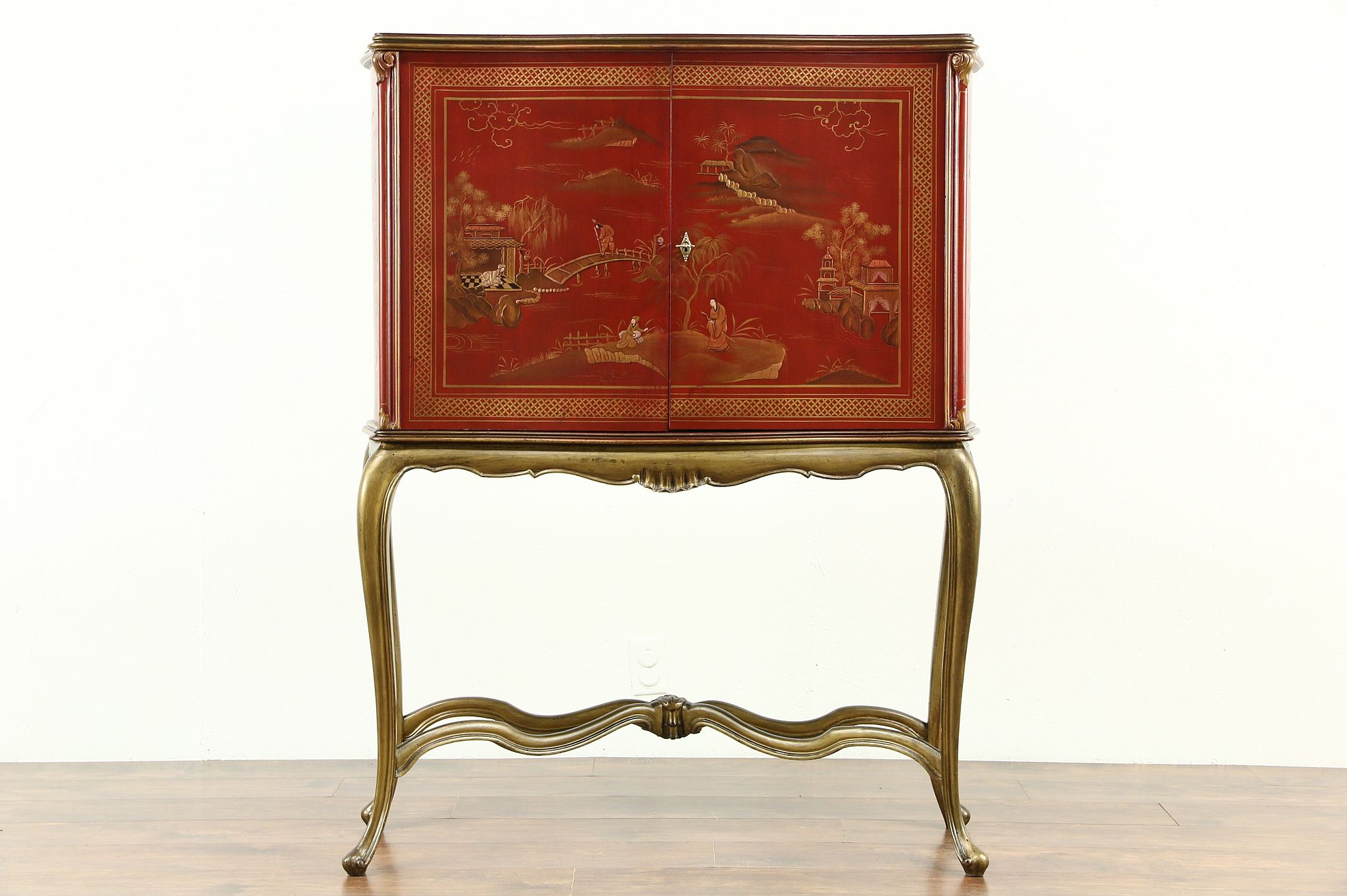 Italian 1930 Antique Bar Cabinet, Chinese Hand Painting, Mosaic Mirror