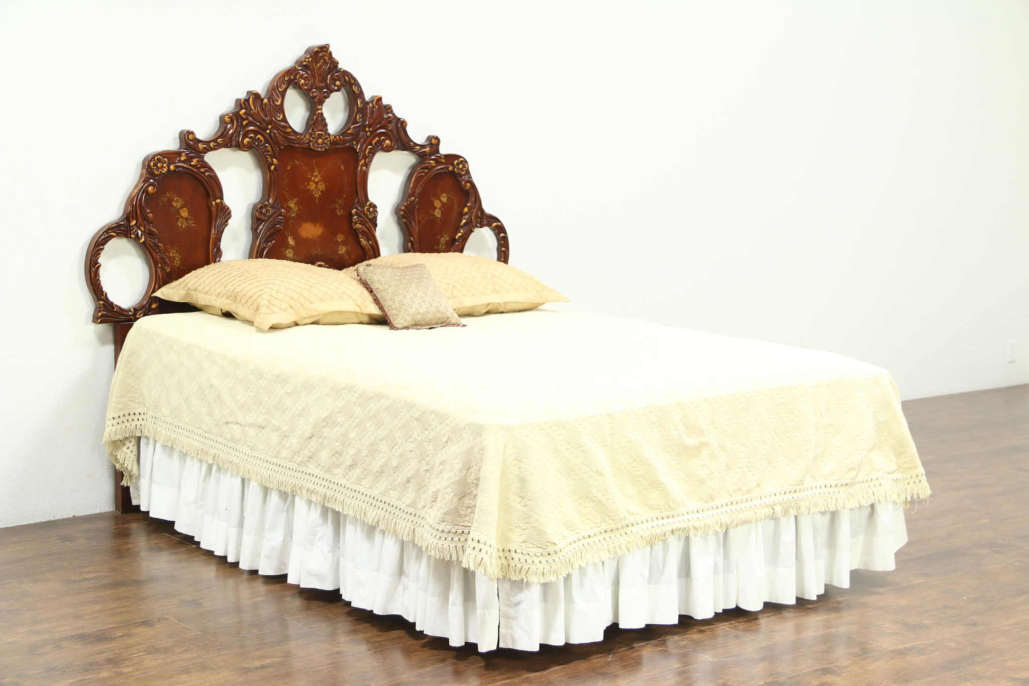 Baroque Carved King Or Queen Size Cherry Headboard Hand Painted Signed