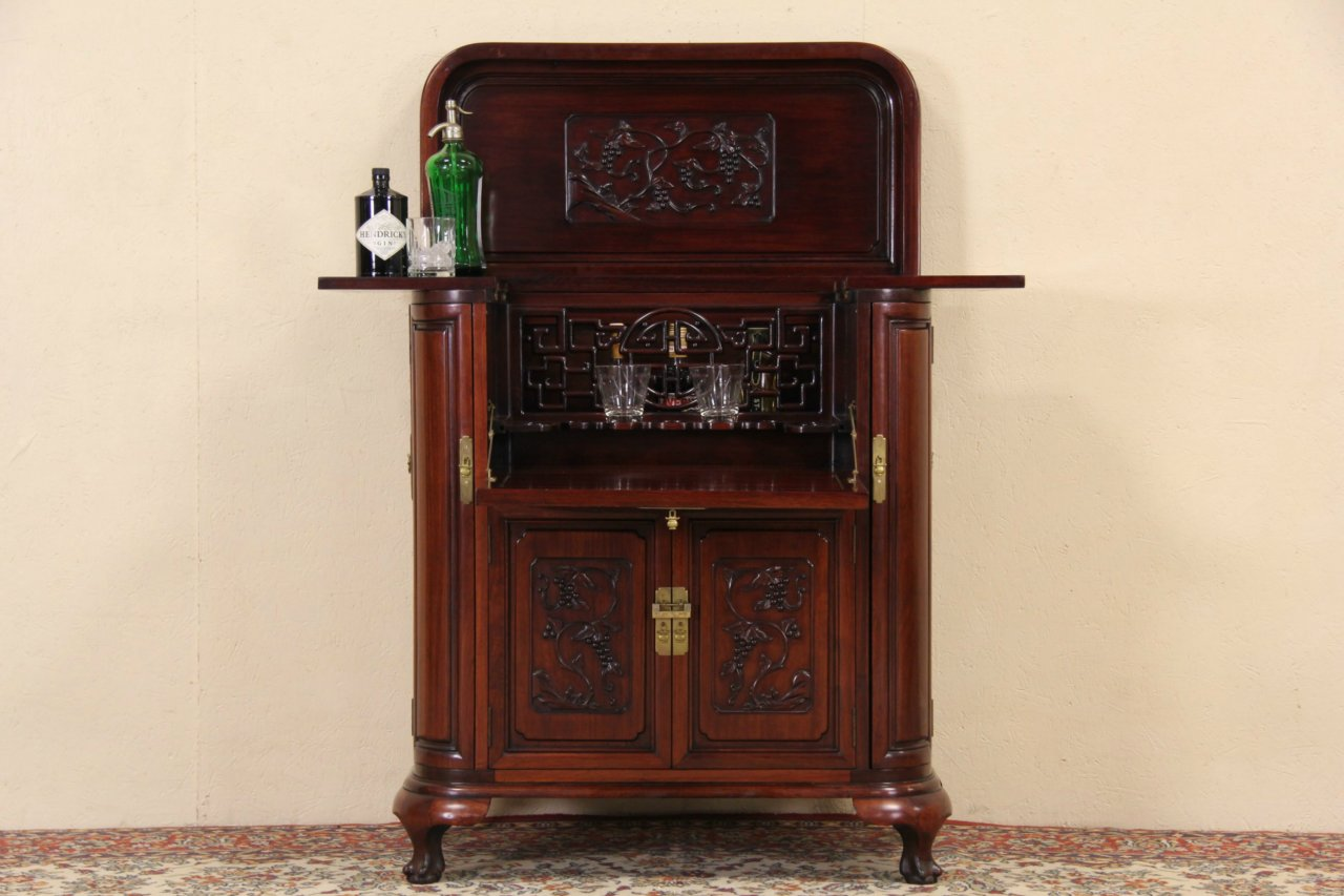 Chinese Carved Mahogany Vintage Bar Liquor Cabinet Server