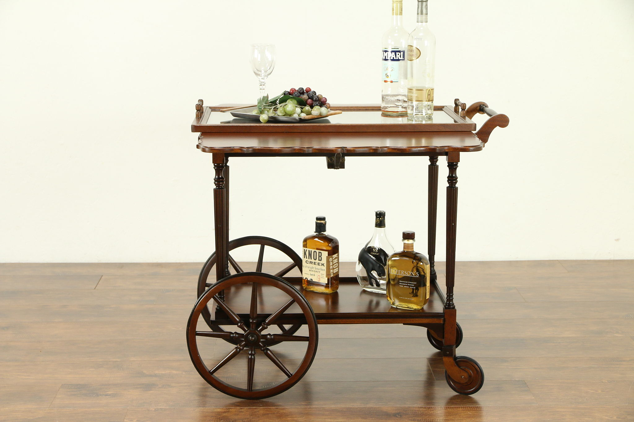 Sold Bar Cart Antique Mahogany Dessert Or Beverage Trolley Signed 1918 30797 Harp Gallery Antiques Furniture