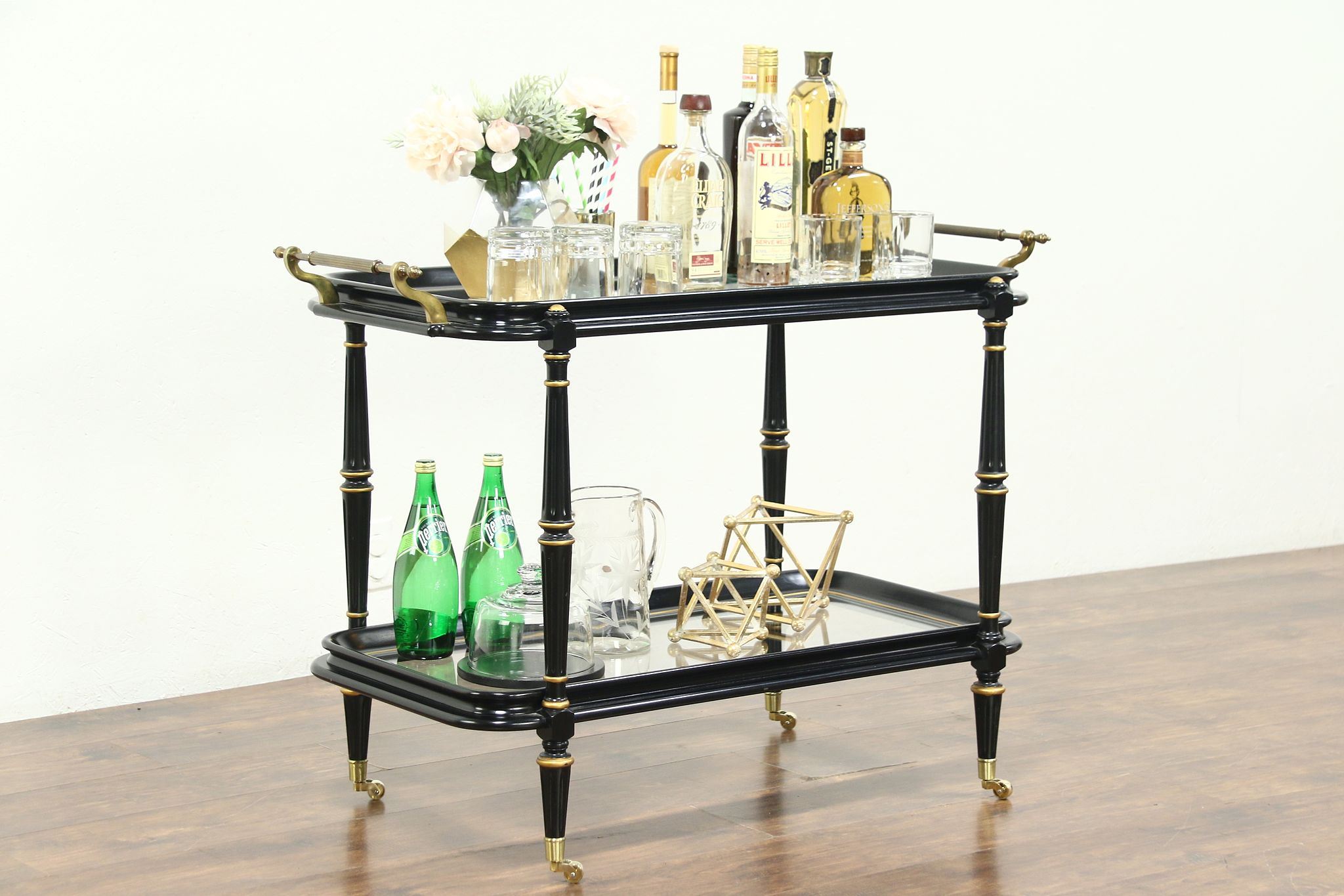 Vintage Bar Cart >> Black Gold Vintage Bar Cart Tea Or Dessert Trolley Brass Mounts 28819