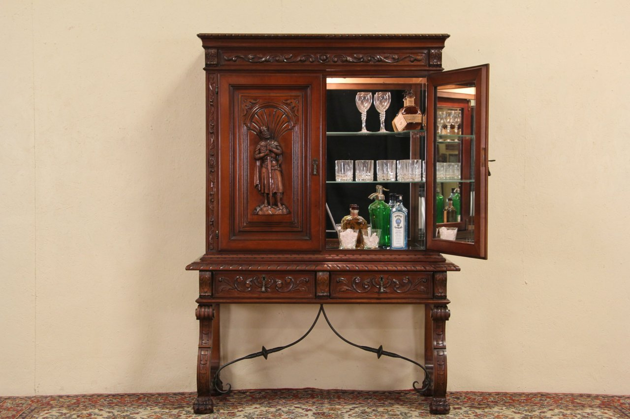 Spanish Colonial Knight Carved Bar Cabinet ... - SOLD - Spanish Colonial Knight Carved Bar Cabinet - Harp Gallery