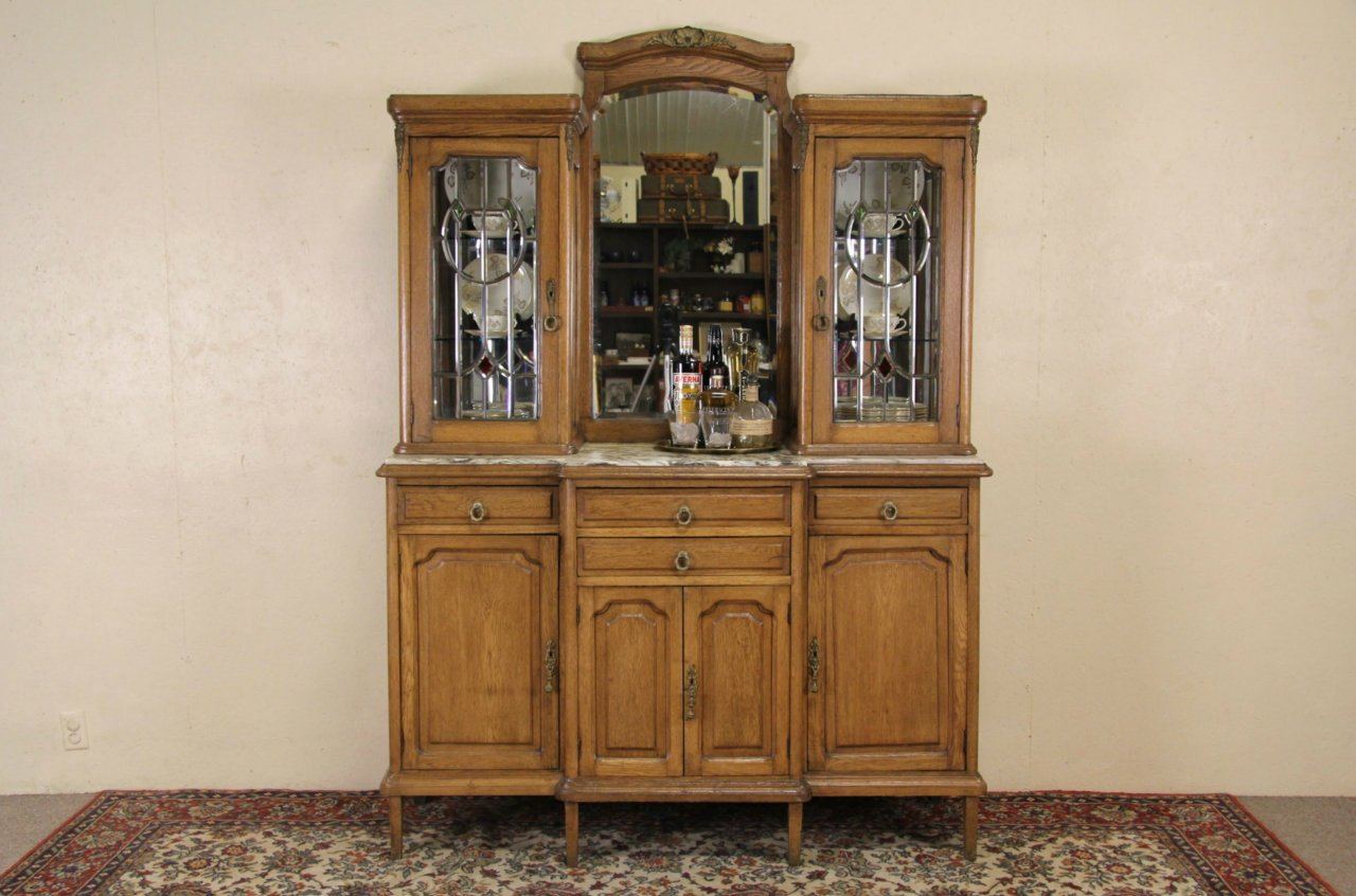 French Antique 1910 Oak China Cabinet, Back Bar or Server, Leaded Glass - SOLD - French Antique 1910 Oak China Cabinet, Back Bar Or Server