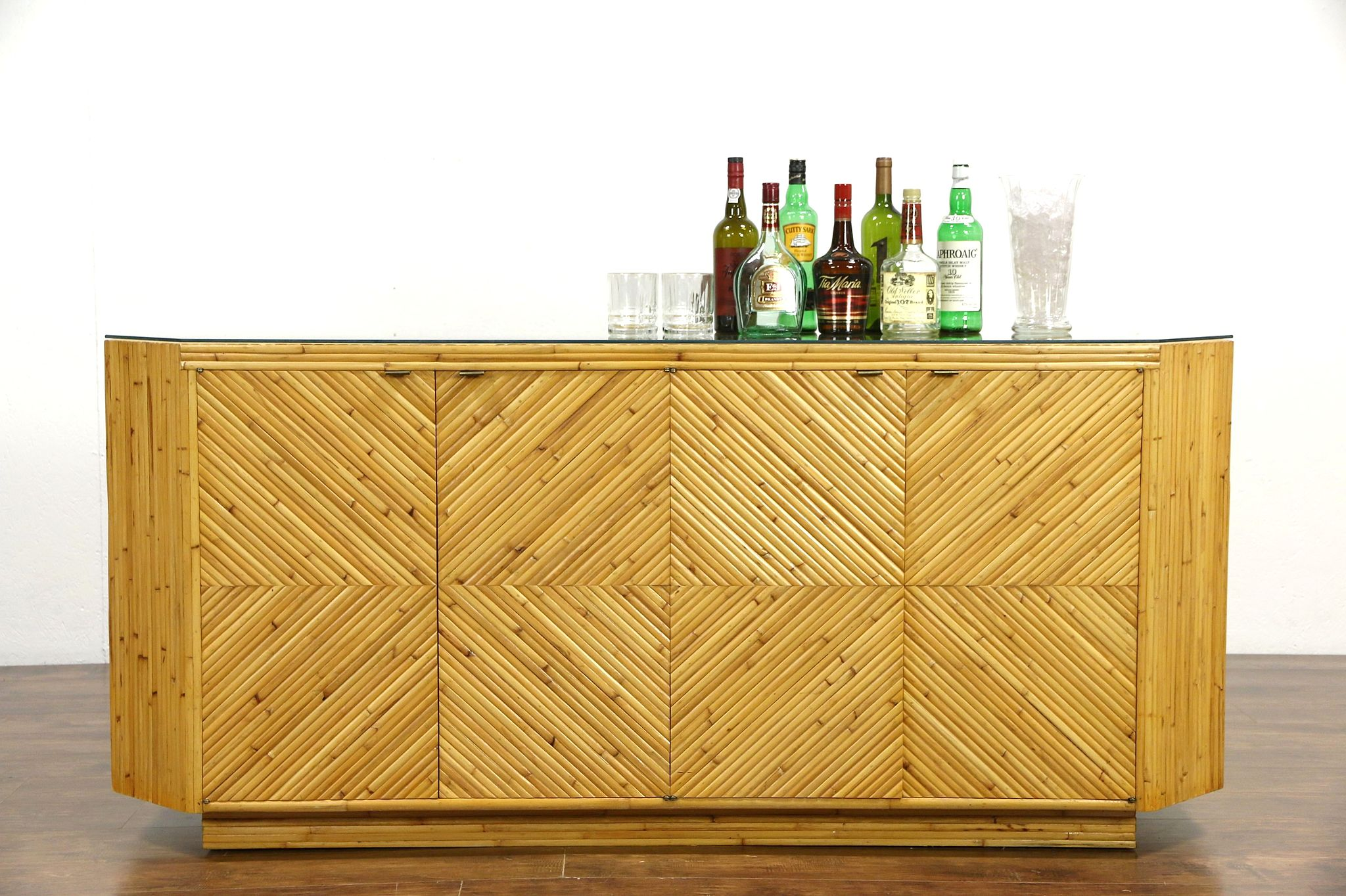 Bamboo Midcentury Modern 1960 Vintage Bar Or Console Cabinet, Glass Top