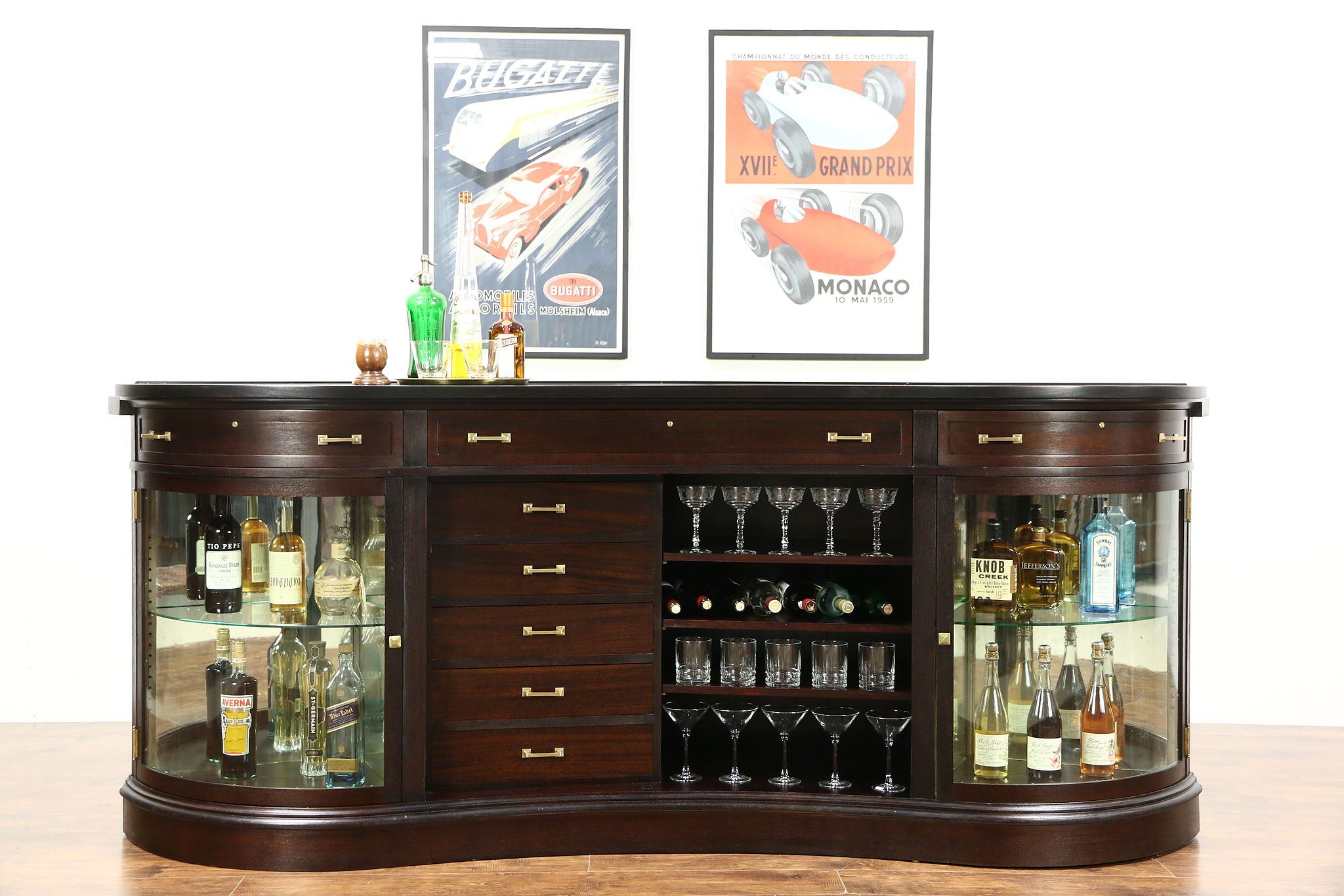 Sold Mahogany Antique 8 10 Curving Front Bar Or Kitchen Island
