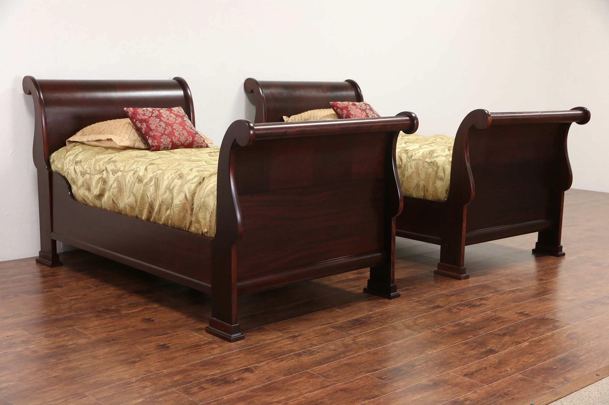 Sold Pair Of 1910 Antique Twin Size Flame Mahogany