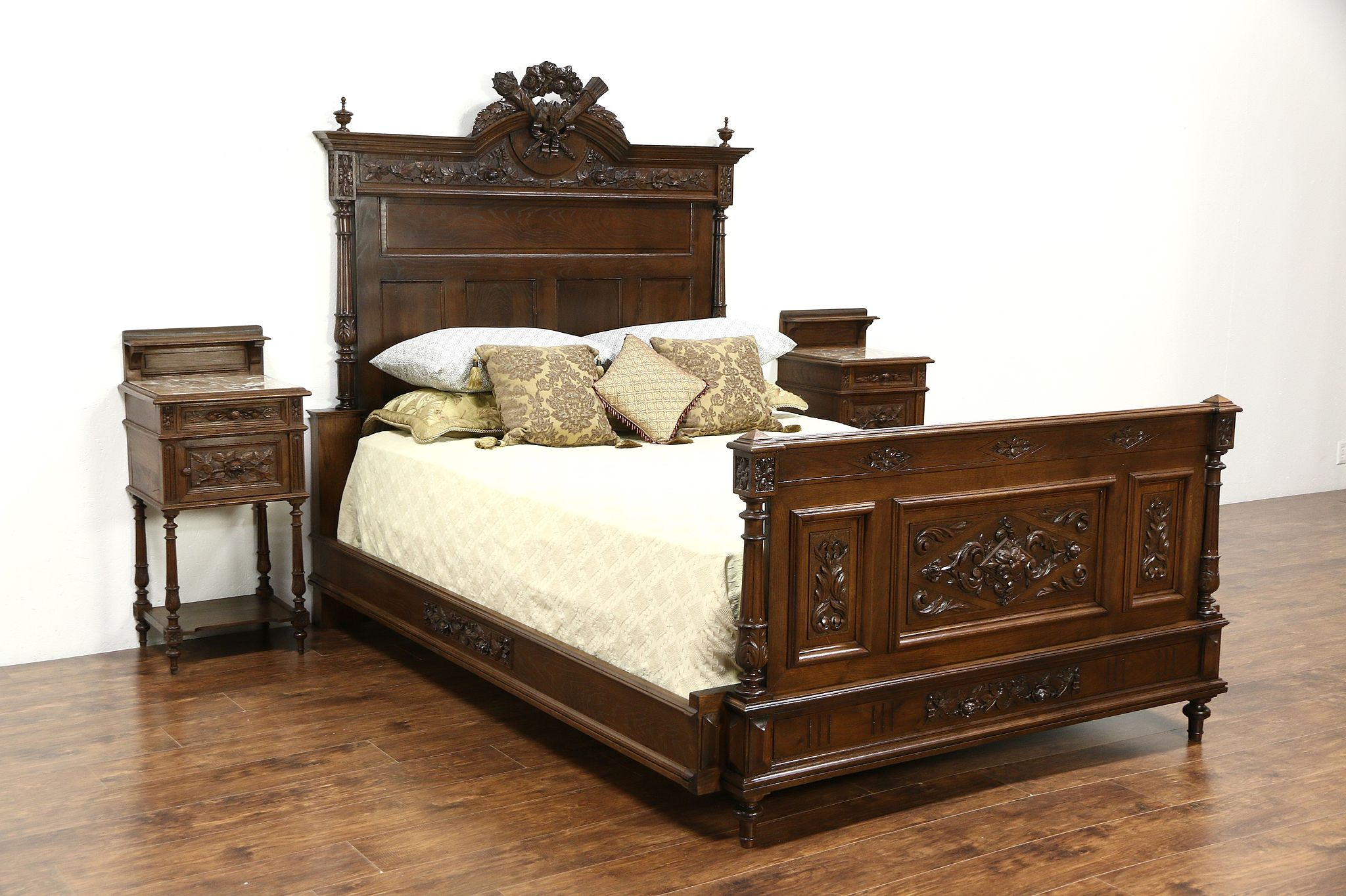 French Louis XVI Antique 1890 Carved Bedroom Set, Queen Size Bed, 2  Nightstands
