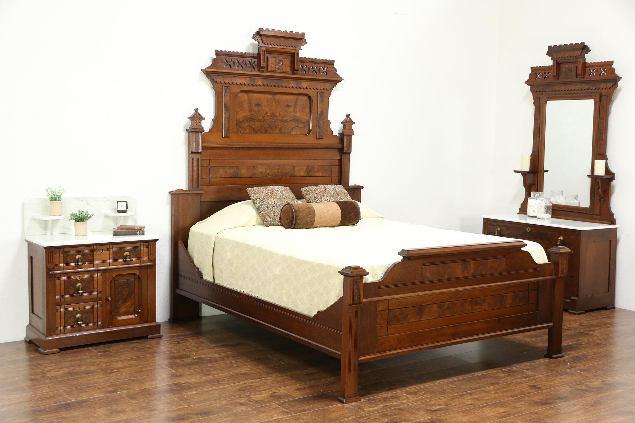 Sold Victorian Eastlake Antique 1875 Walnut Queen Size 3 Pc
