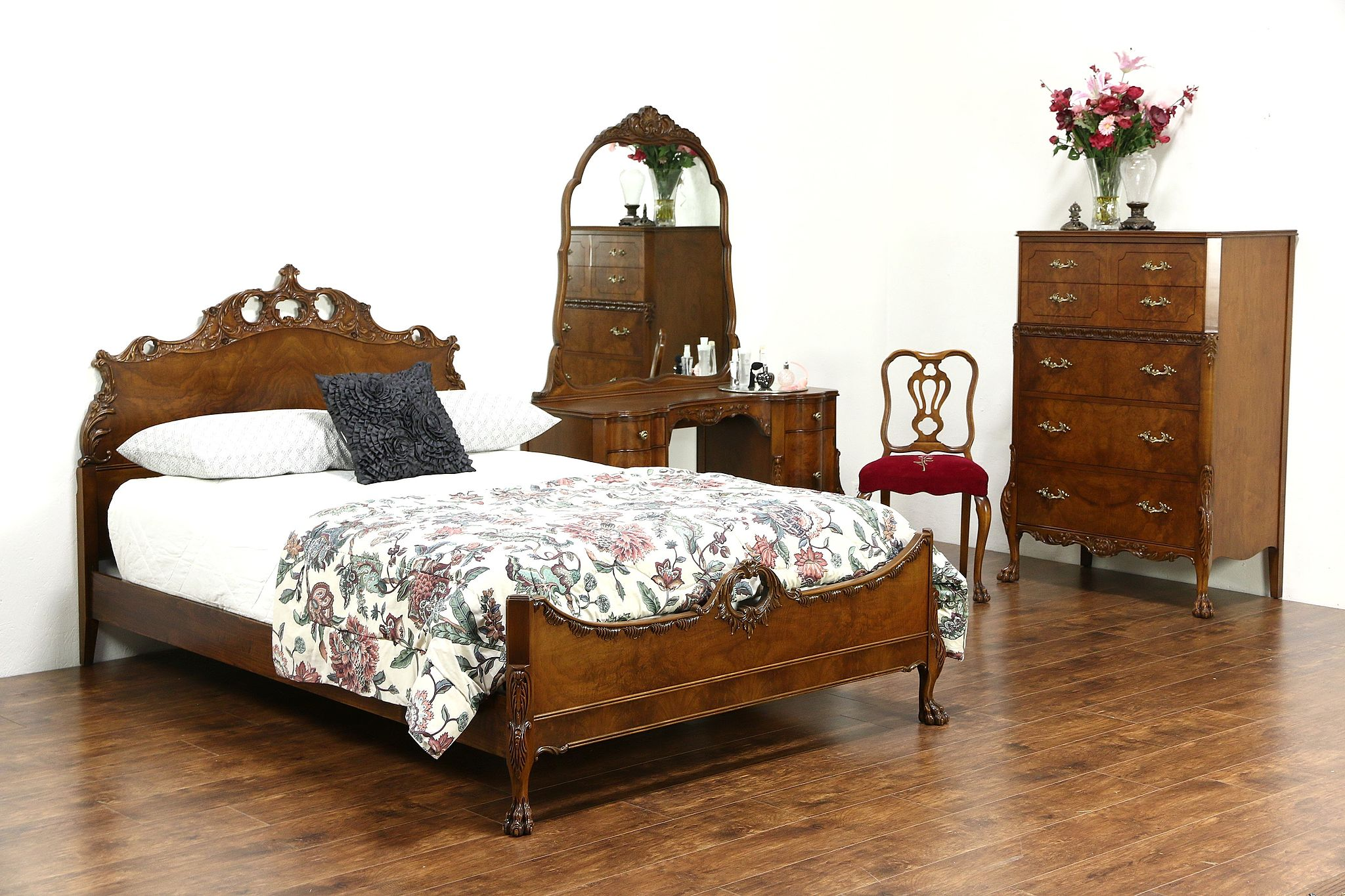 Sold french style vintage 4 pc burl bedroom set extra Vintage looking bedroom furniture