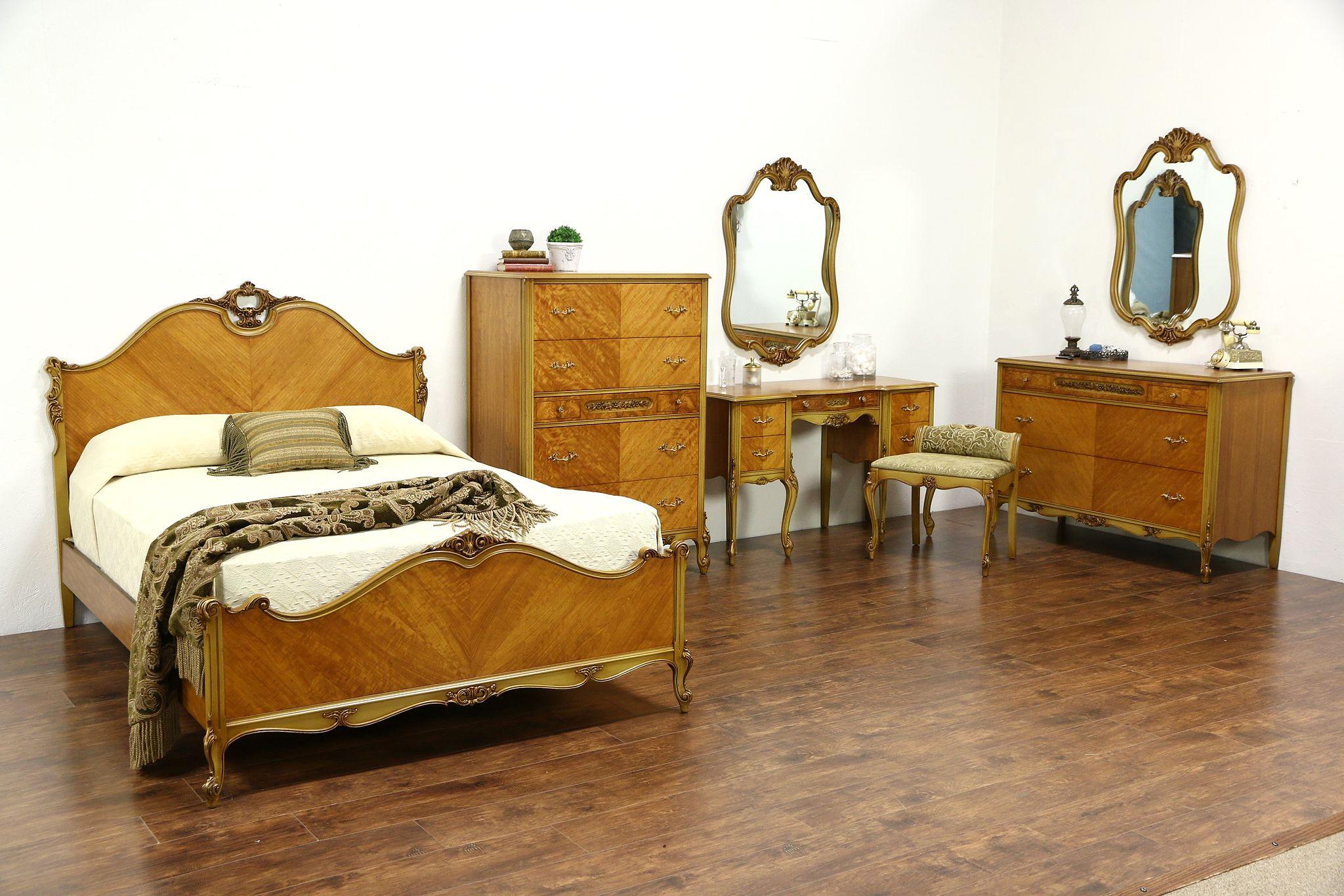 French Design 1940\'s Vintage Satinwood 7 Pc. Bedroom Set, Full Size Bed