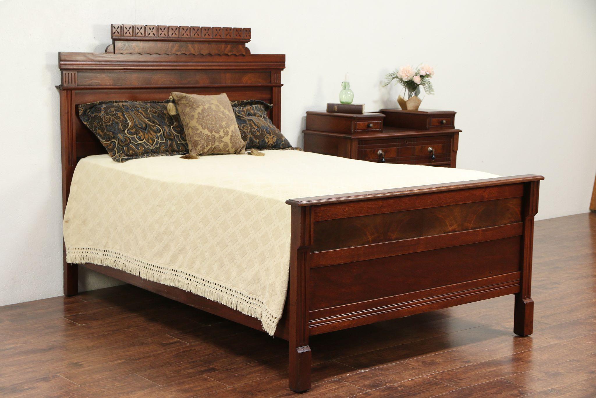 Victorian Eastlake Antique Walnut & Burl 2 Pc Bedroom Set, Full Size Bed  #29851