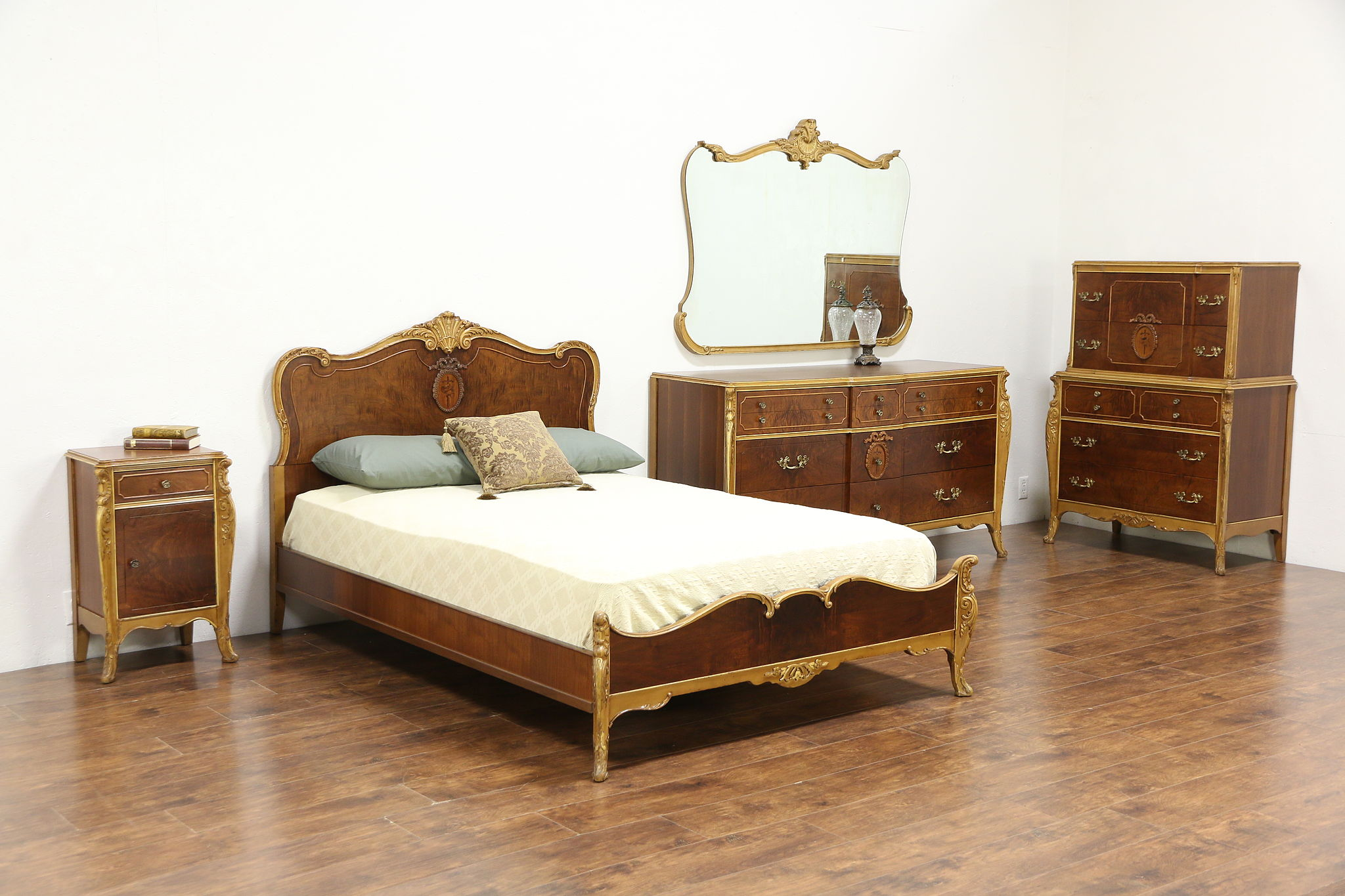 French Style 5 Pc. 1930\'s Vintage Marquetry Bedroom Set, Full Size Bed,  Joerns
