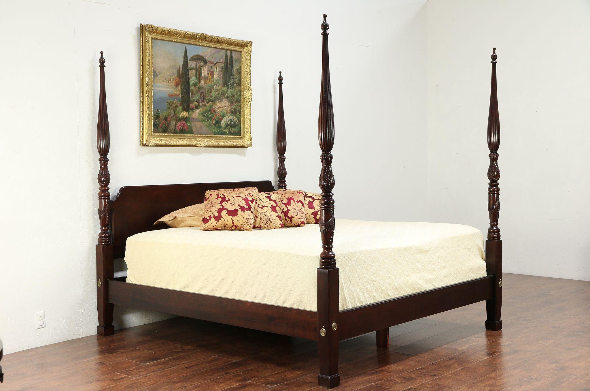 Sold King Size Vintage Carved Mahogany Poster Bed Signed