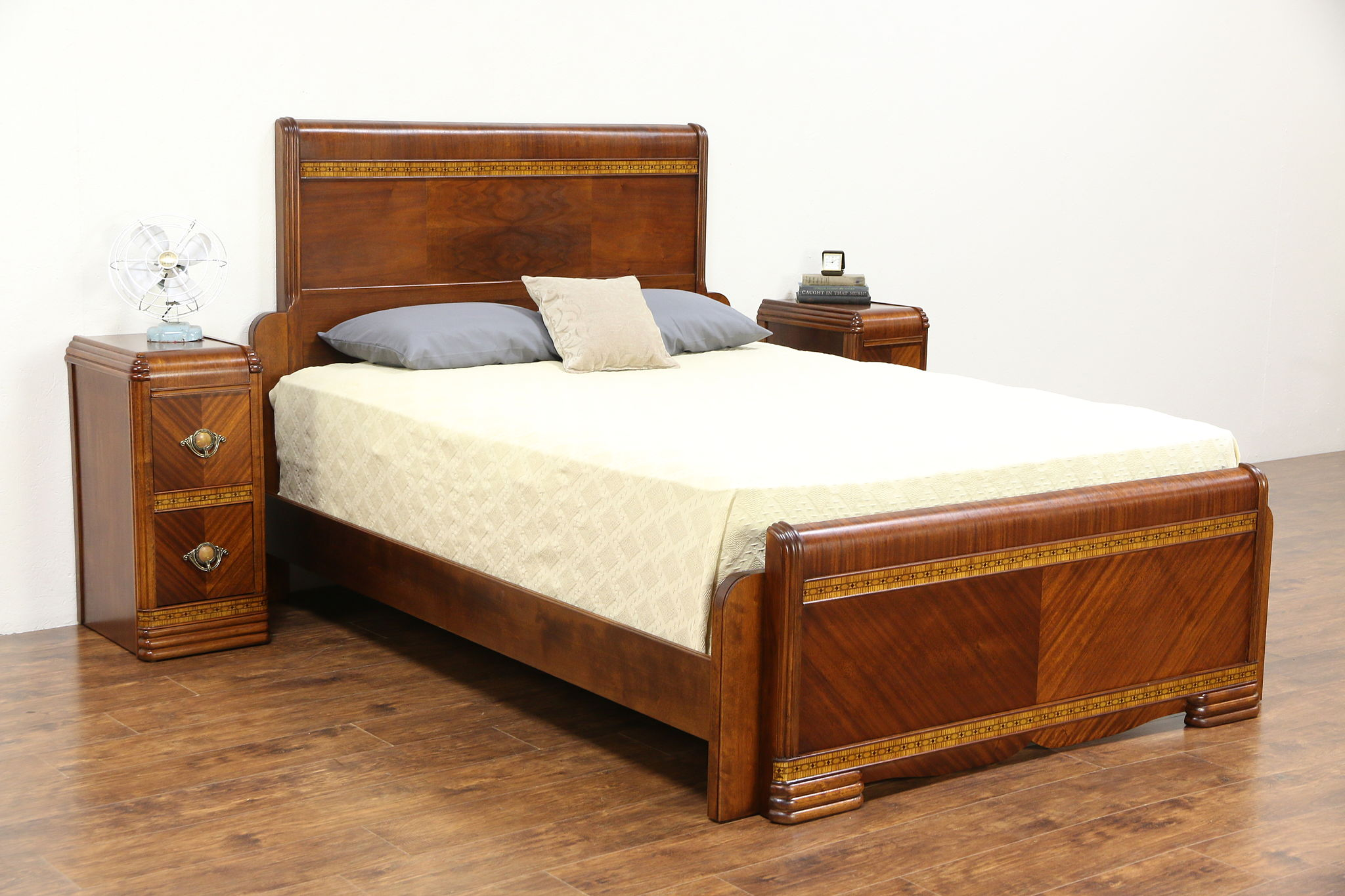 Sold Art Deco Waterfall Bedroom Set 1935 Vintage Queen Size Bed Pair Nightstands Harp Gallery Antiques Furniture