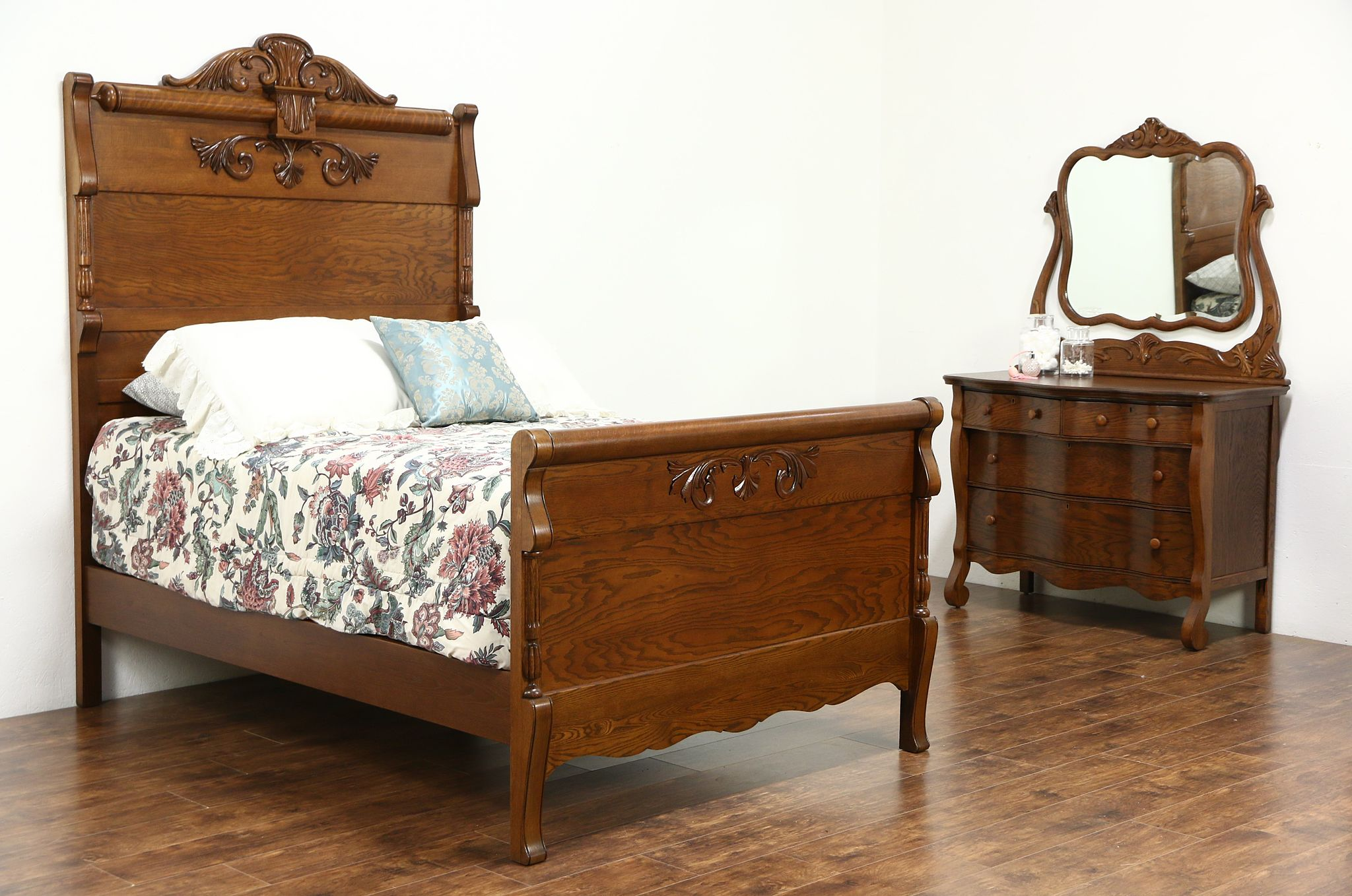victorian carved oak antique 1900 bedroom set full size bed chest mirror - Oak Bedroom Sets