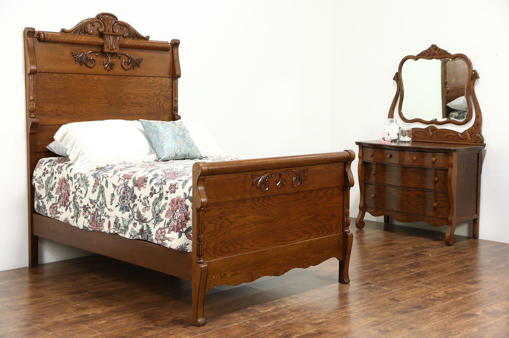 Sold Victorian Carved Oak Antique 1900 Bedroom Set Full Size