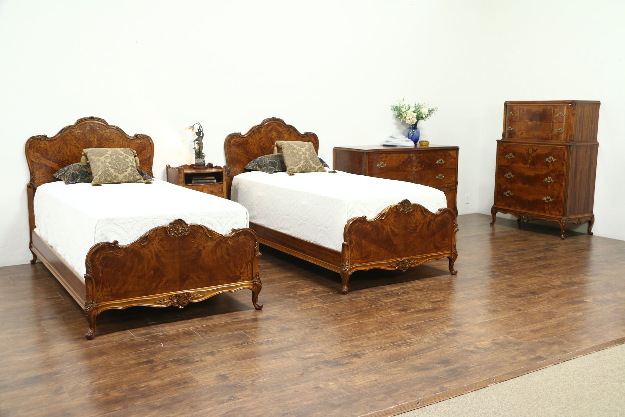 Satinwood 1940\'s Vintage 5 Pc. Bedroom Set, Twin Beds, Signed Empire of  Rockford