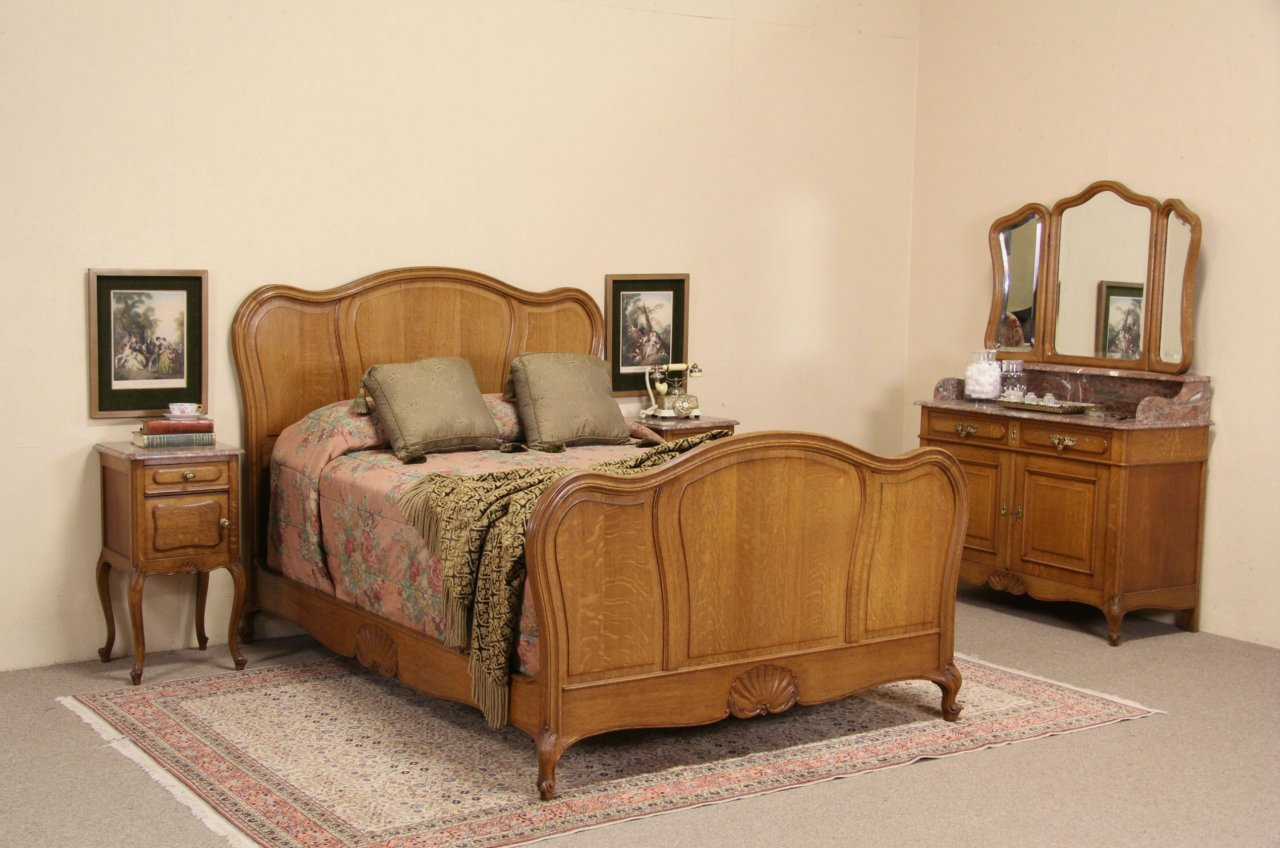 Country French Oak 1900 Antique Double Size 4 Pc. Bedroom Set, Marble Tops