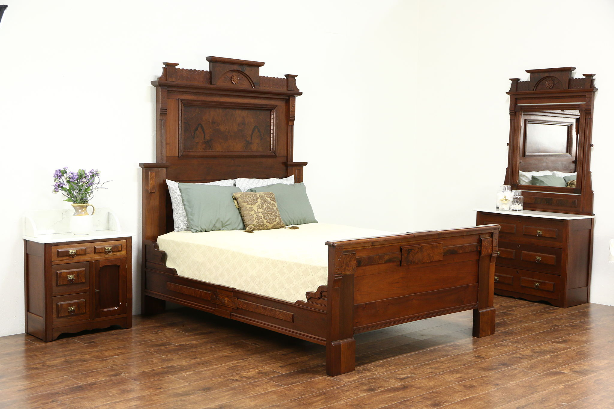 Bedroom Sets With Marble Tops victorian 1880 antique walnut queen size bedroom set, marble tops