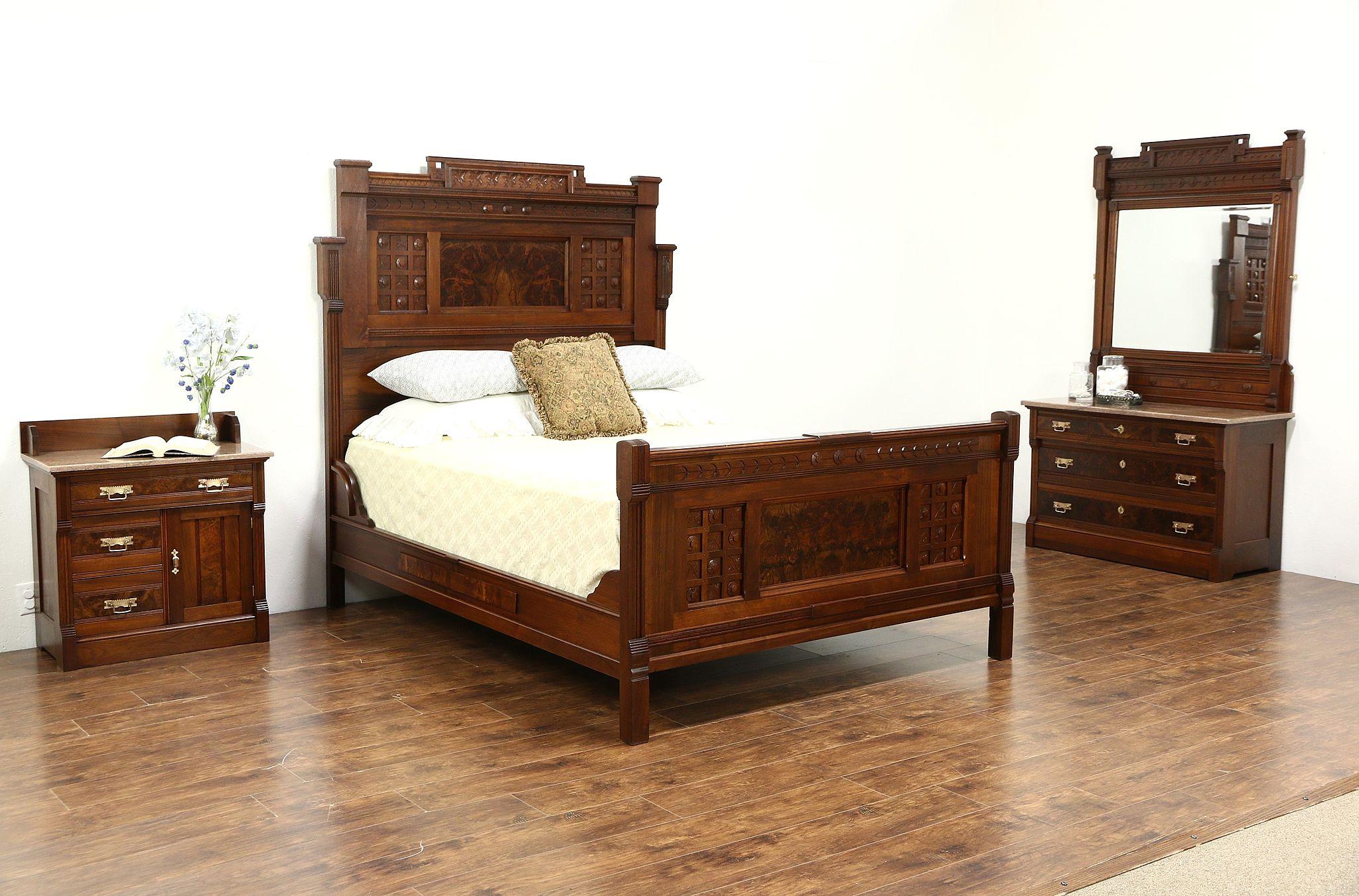 Victorian Eastlake 1880 Antique 3 Pc Queen Size Walnut Bedroom Set, Marble  Tops