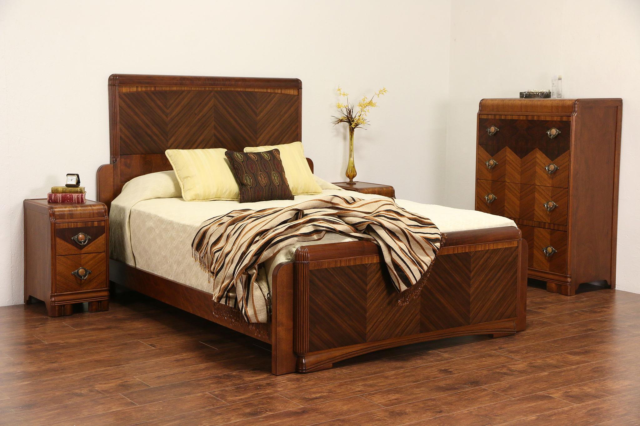 sold art deco waterfall 4 piece bedroom set queen bed nightstands highboy chest harp gallery. Black Bedroom Furniture Sets. Home Design Ideas