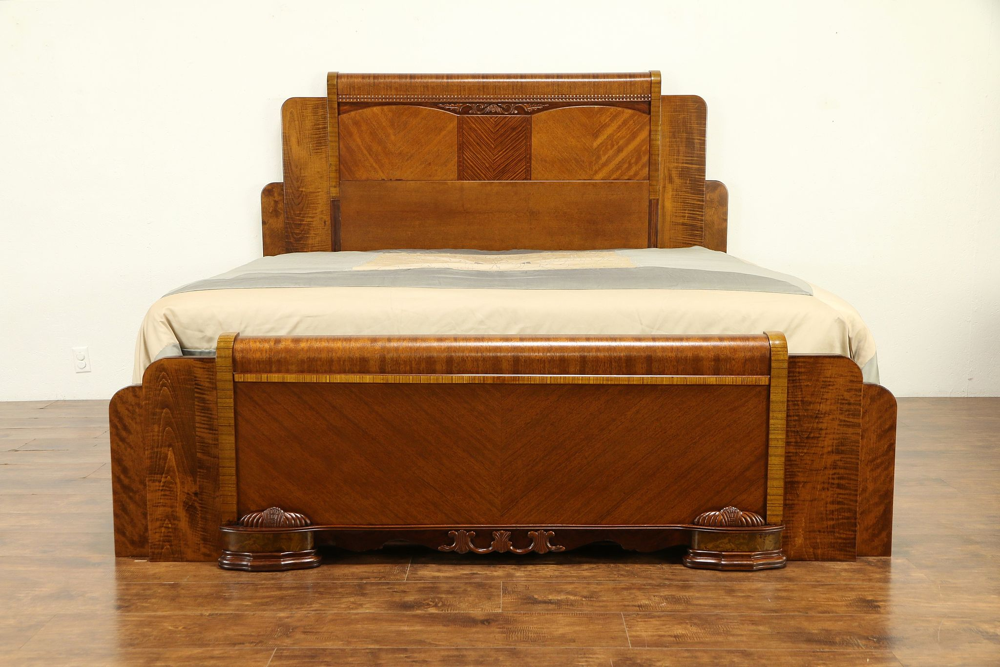 Sold Art Deco Waterfall 1930 S Vintage King Size 3 Pc Bedroom Set 30740 Harp Gallery Antiques Furniture