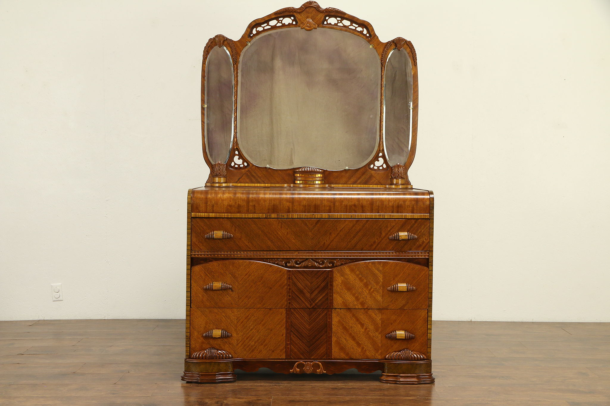 Sold Art Deco Waterfall 1930 S Vintage Dresser With Triple Mirror 31039 Harp Gallery Antiques Furniture