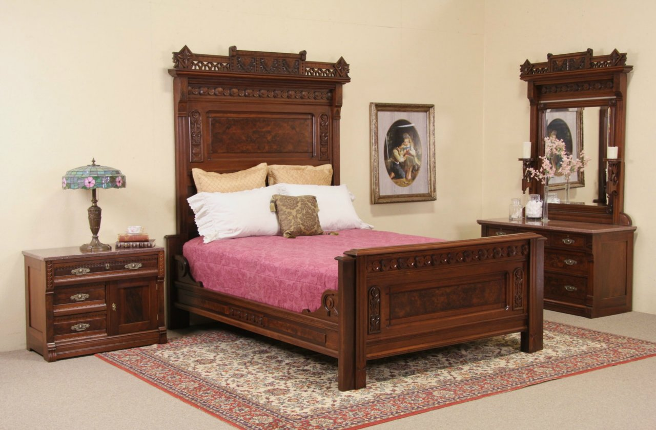 Sold Eastlake Antique Queen Bedroom Set Chest With Mirror And Nightstand Marble Top Harp Gallery