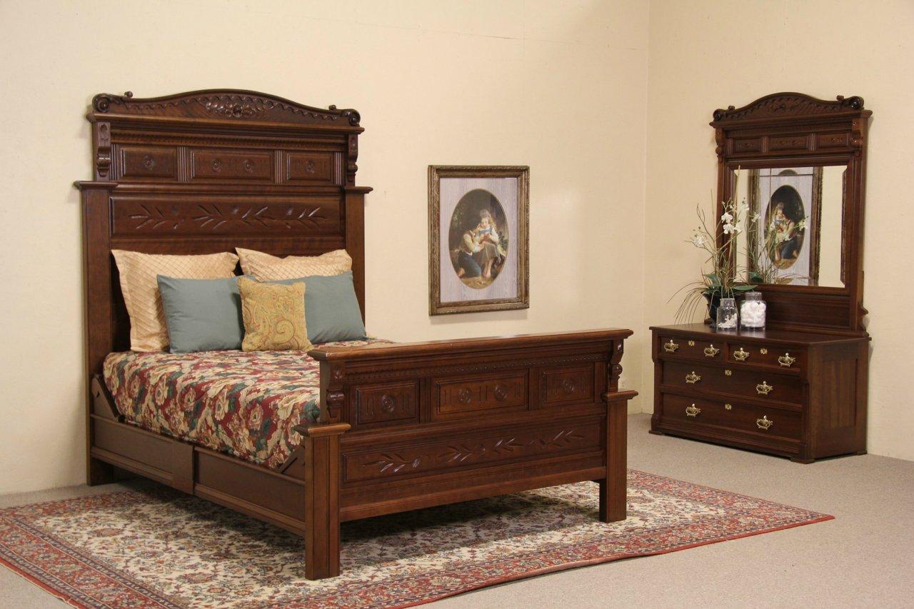 Sold Queen Size 1880 Antique Eastlake Carved Cherry Bedroom Set Bed Dresser Harp Gallery