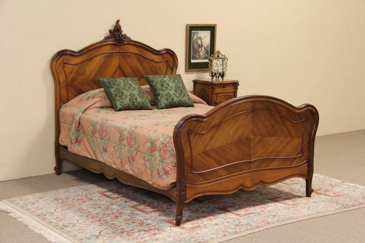 Antique Bed: Carved French Walnut Full Size Antique 1900 Bed
