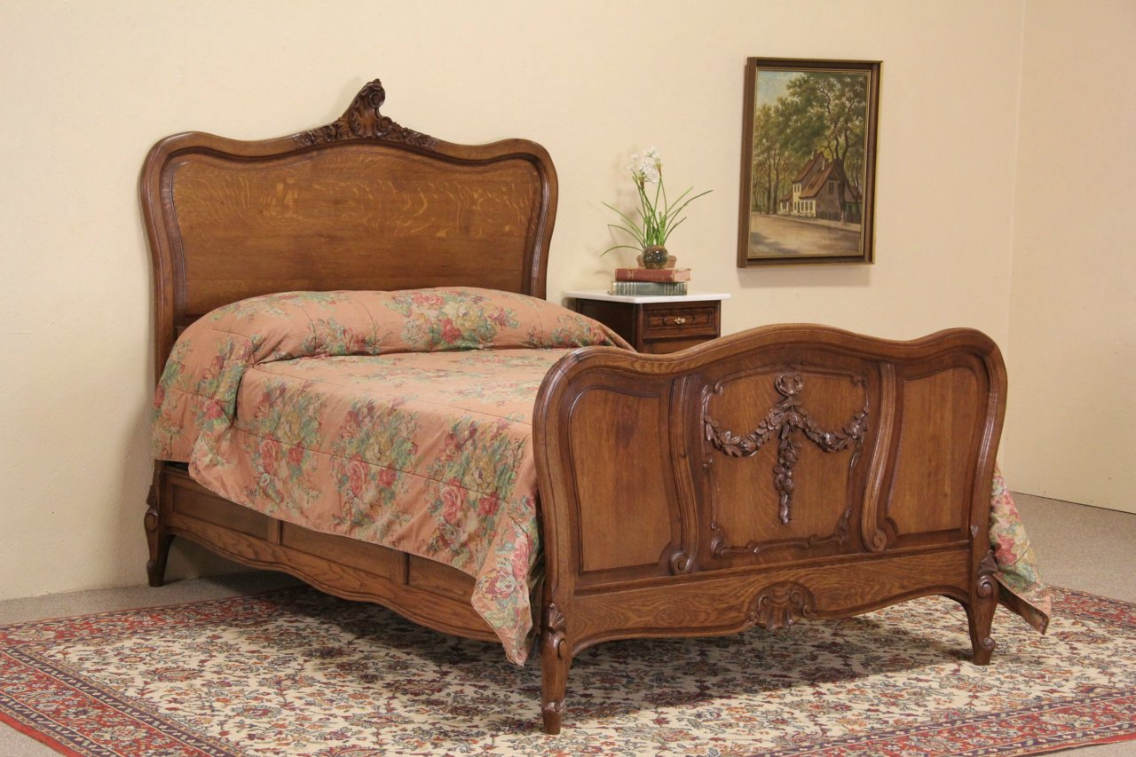 Antique bedroom furniture 1900 - Country French Carved Oak 1900 Antique Full Size Bed