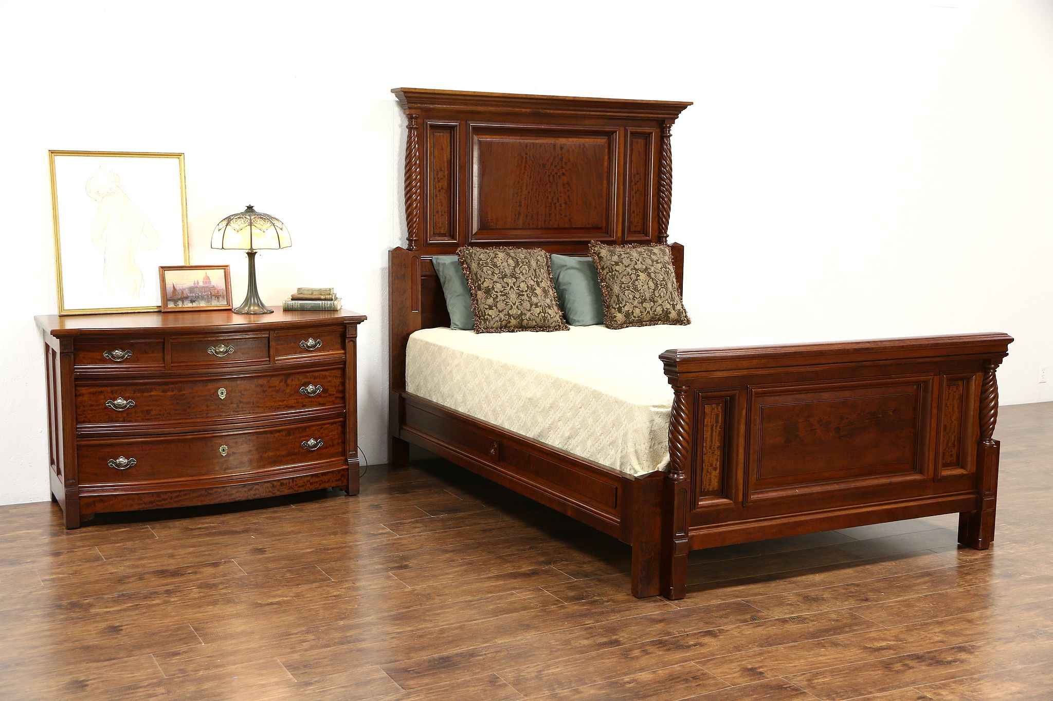 Queen Size 2 Pc. Carved Cherry & Mahogany 1890 Antique Bedroom Set ...