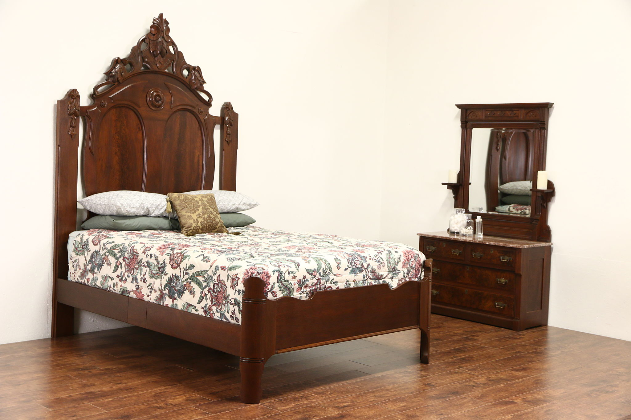 Antique Bed: Victorian 1860's Antique Carved Walnut Queen Size