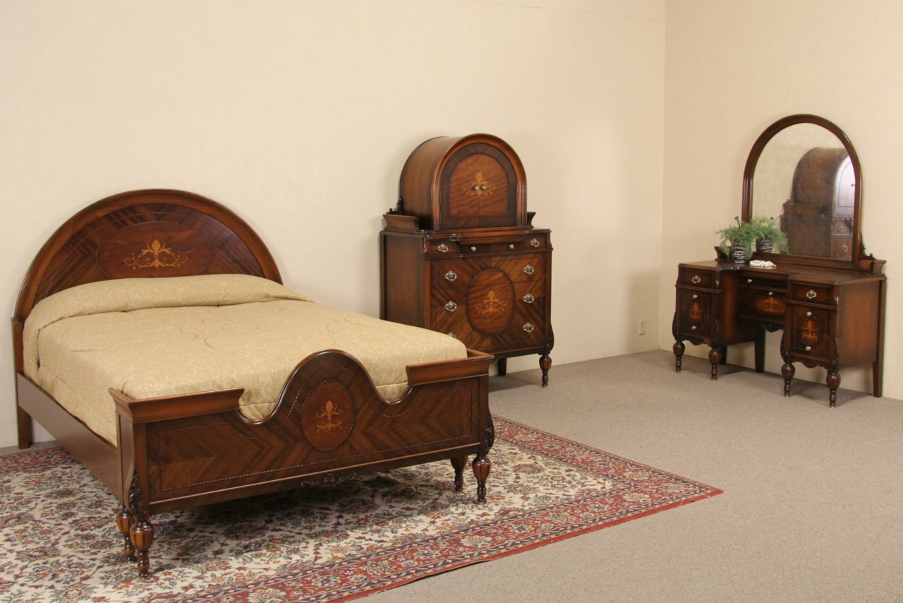 Sold Marquetry 1920 39 S Full Size Antique Bedroom Set 3 Pc Harp Gallery