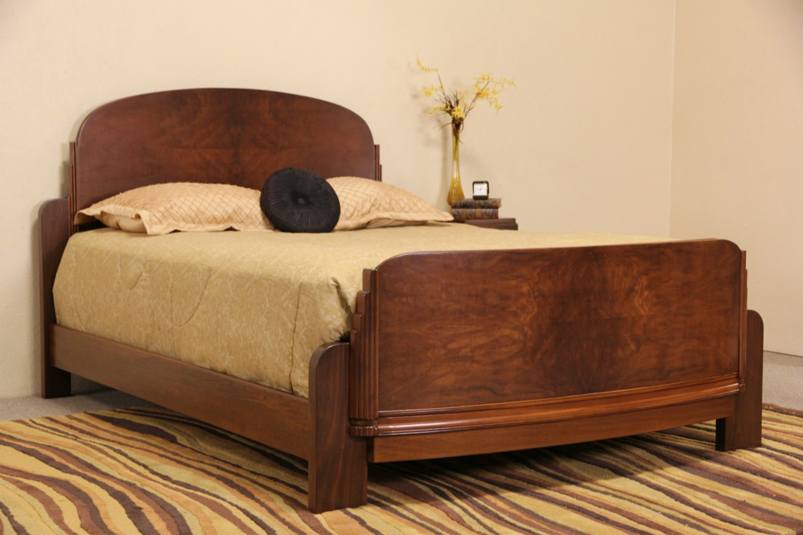 Sold Art Deco 1930 S Vintage Walnut Burl Queen Size Bed