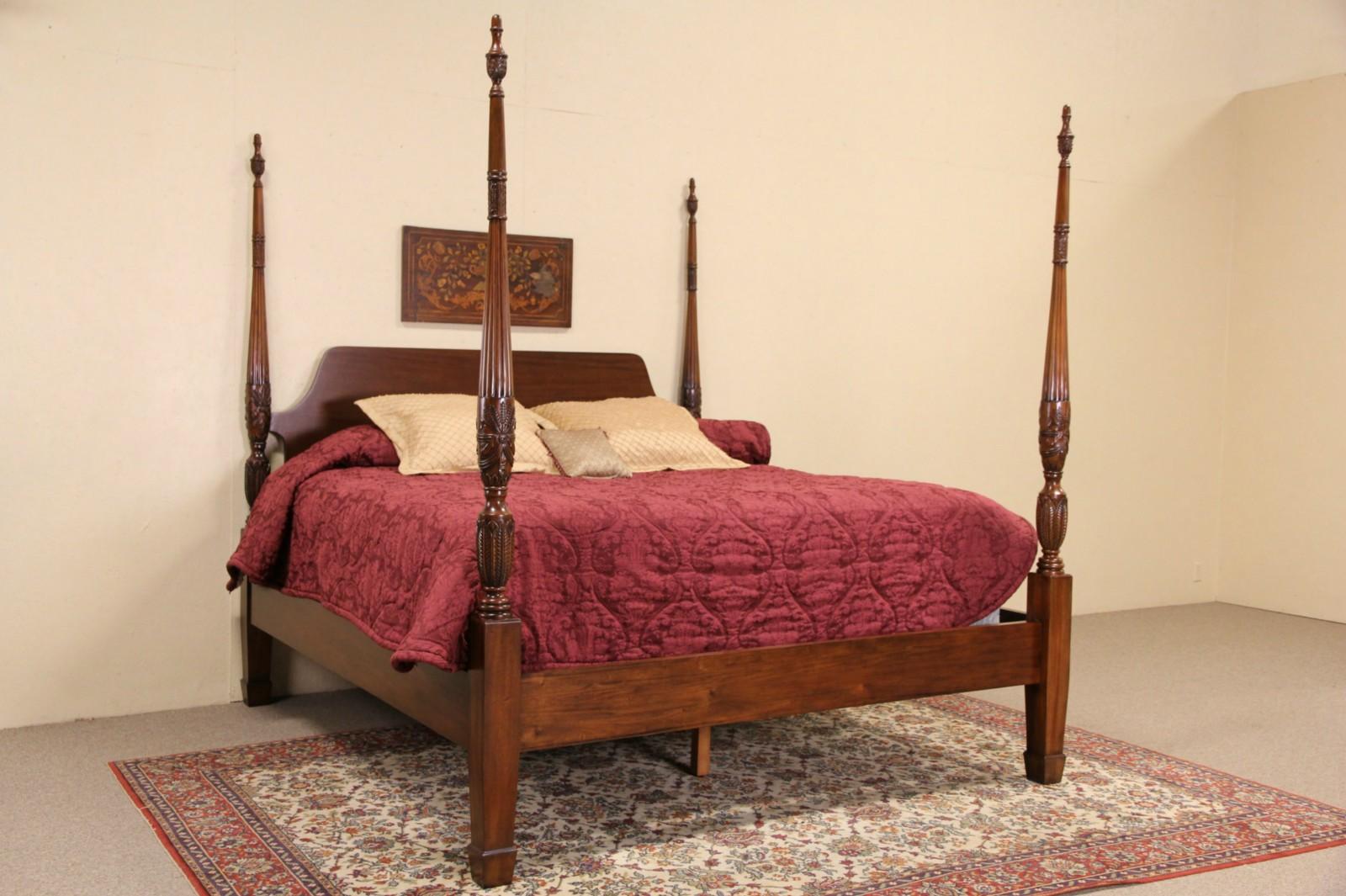 Charleston Rice Motif Carved Mahogany King Size Plantation Poster Bed