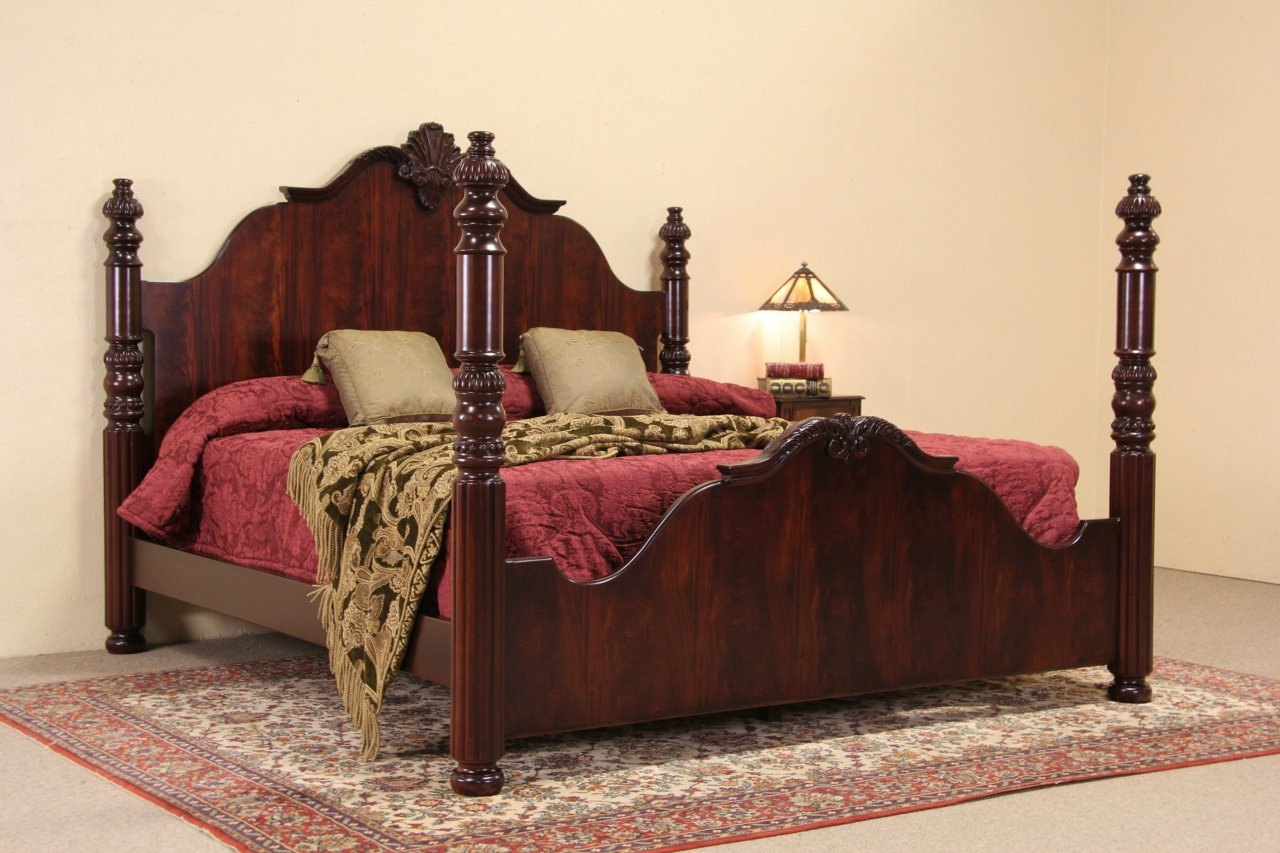 Sold Carved Vintage King Size Mahogany Poster Bed Harp
