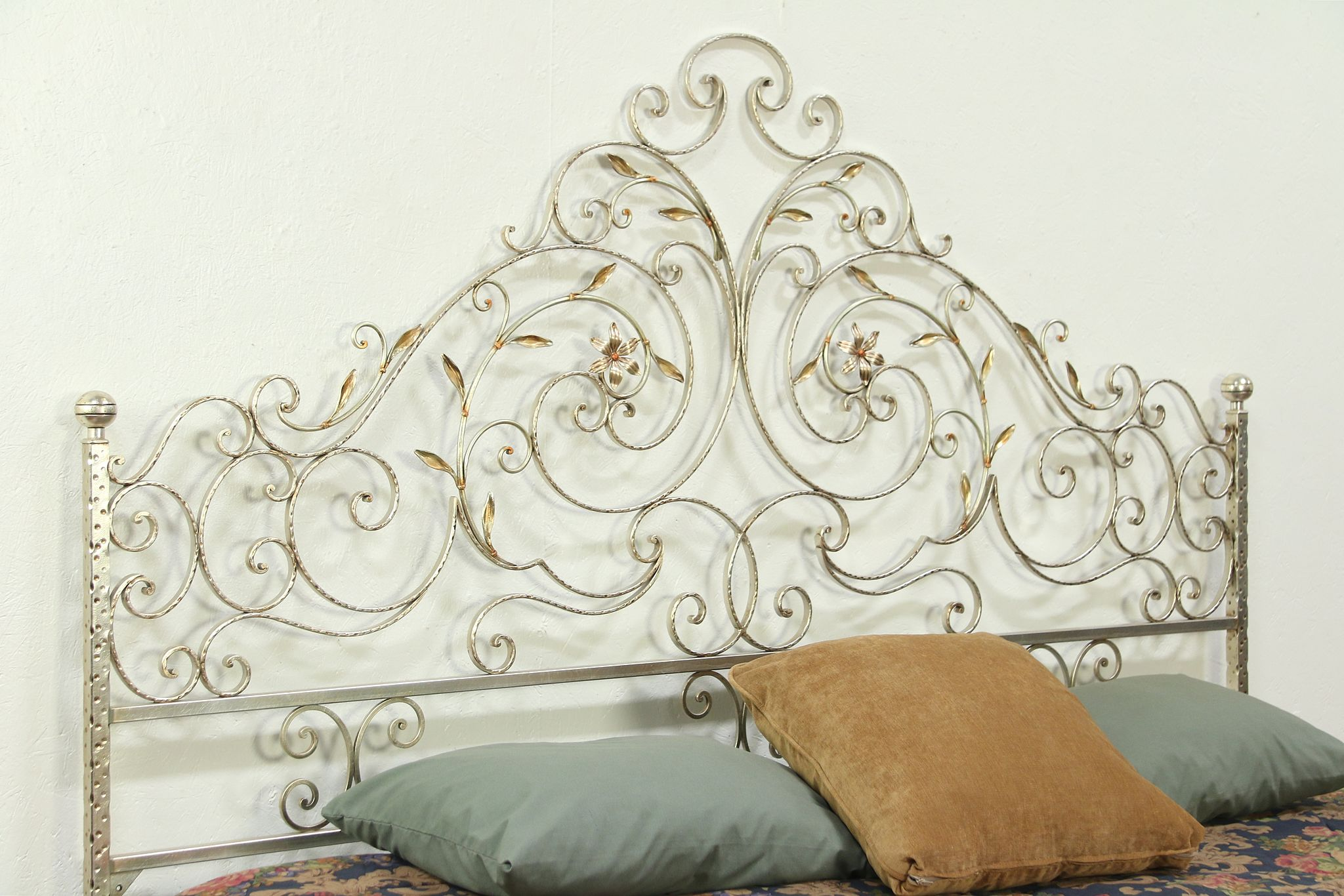 Sold King Size Wrought Iron Vine Motif Bed Headboard Satin Pewter 28907 Harp Gallery Antiques Furniture